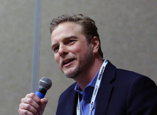 Dr. Jonathan Vaught, CEO and co-founder of Front Range Biosciences, talks about industrial hemp at a Wisconsin Farm Bureau Federation hemp workshop on Dec. 2 in Wisconsin Dells.