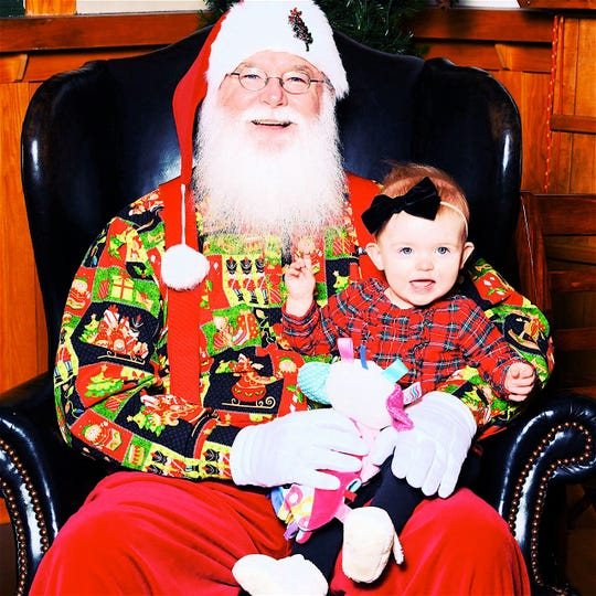 First great granddaughter Reese Oncken Riskey and Santa.