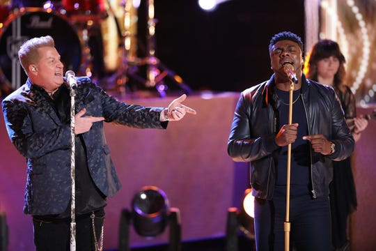 Finalist Kirk Jay, right, sings with Rascal Flatts.