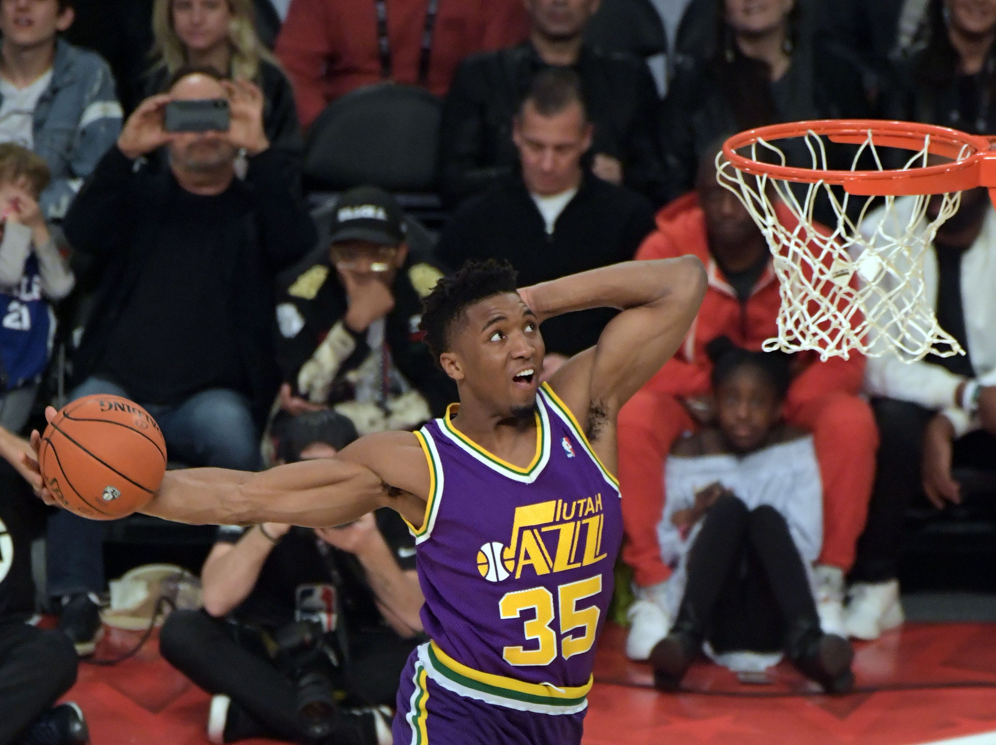 Feb. 17, 2018: Utah Jazz guard Donovan Mitchell shoots in the slam dunk contest in the 2018 All Star Saturday Night at Staples Center in Los Angeles.