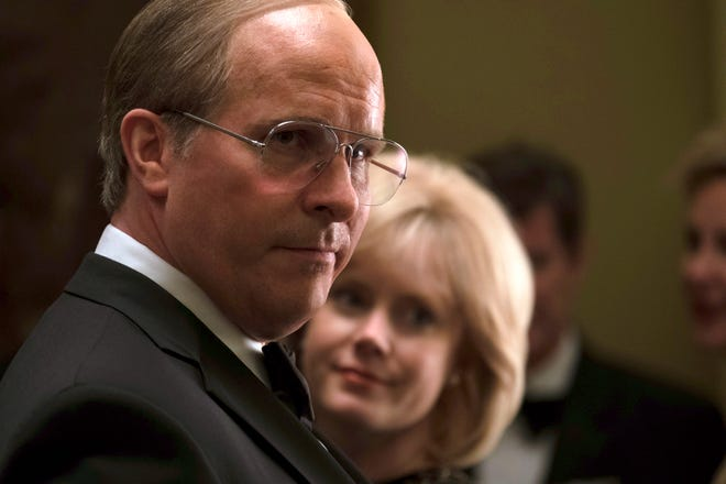 """This image released by Annapurna Pictures shows Christian Bale as Dick Cheney, left, and Amy Adams as Lynne Cheney in a scene from """"Vice.""""  On Thursday, Dec. 6, 2018, Bale was nominated for a Golden Globe award for lead actor in a motion picture comedy or musical for his role in the film. The 76th Golden Globe Awards will be held on Sunday, Jan. 6. (Matt Kennedy/Annapurna Pictures via AP) ORG XMIT: NYET827"""