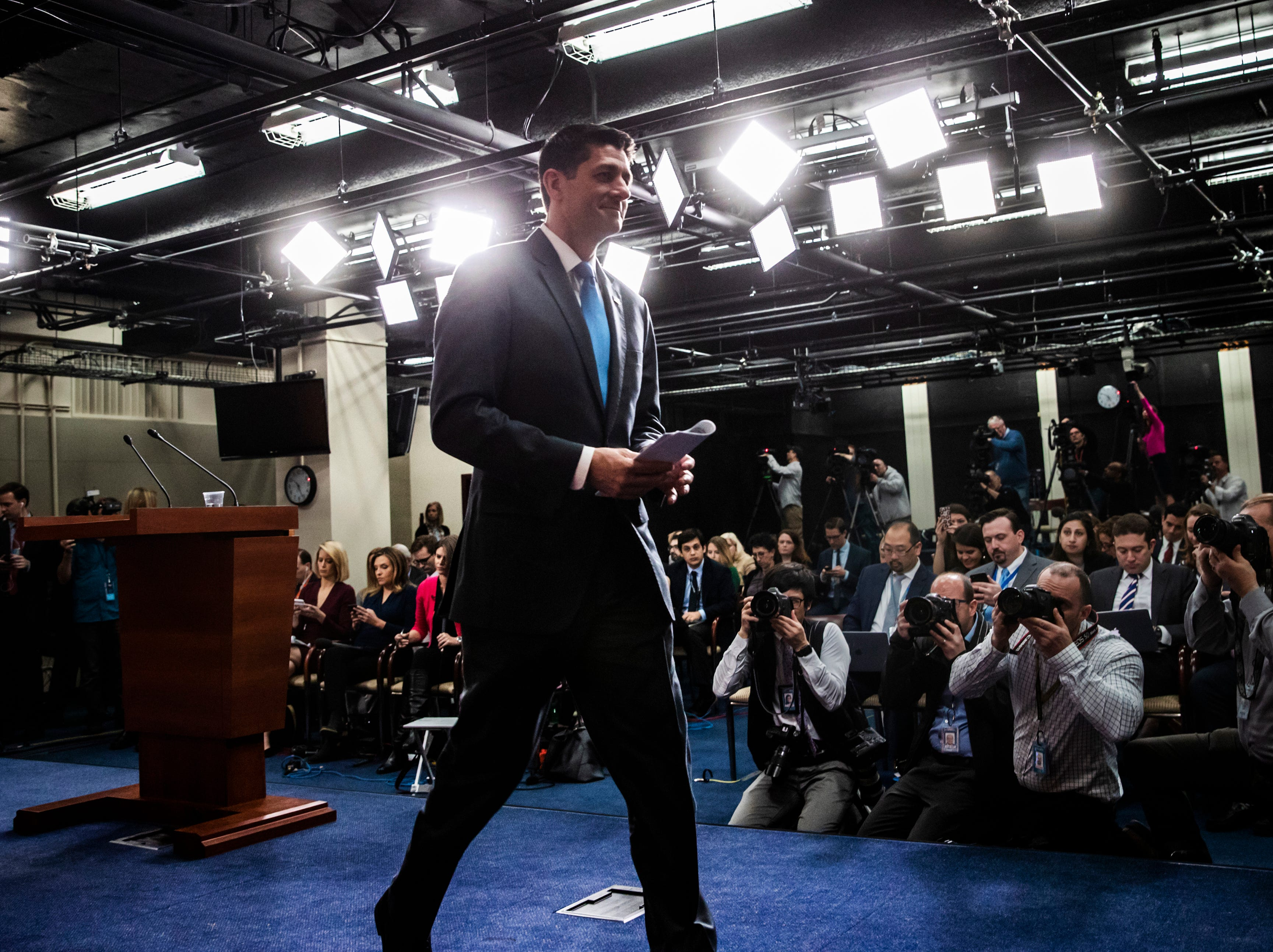April 11, 2018: Speaker of the House Paul Ryan, R-Wis., tells reporters he will not run for re-election amid Republican concerns over keeping their majority in the House of Representatives, during a news conference at the Capitol in Washington.