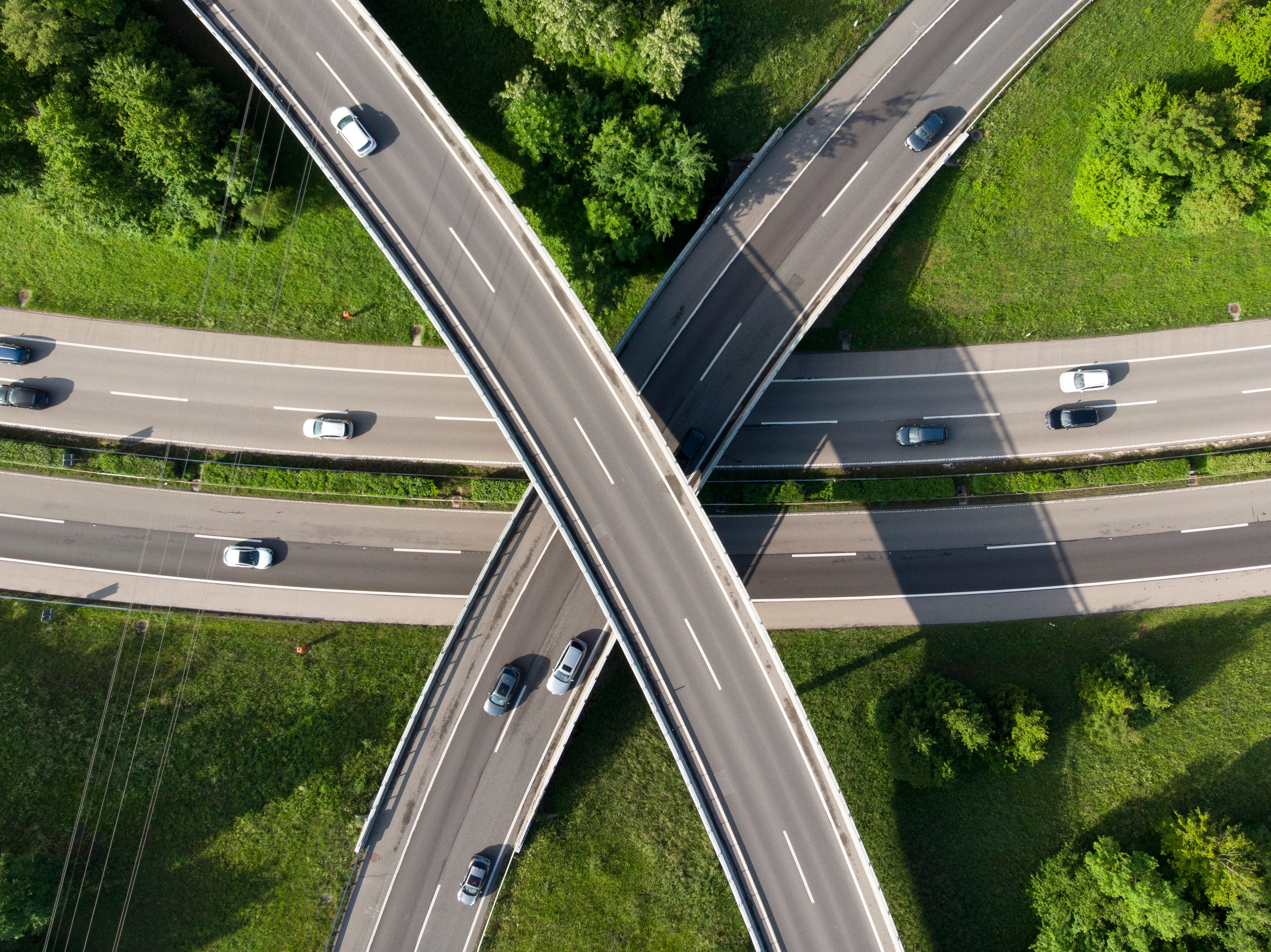May 17, 2018: An image taken with a drone shows an aerial view of several cars and trucks driving on highway A1 interchange Ecublens-Crissier, in Ecublens, Switzerland.