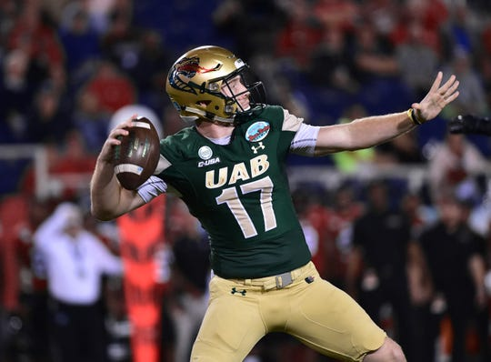 UAB quarterback Tyler Johnston III throws a pass in the Blazers' win over Northern Illinois in the Boca Raton Bowl on Dec. 18, 2018. UAB will visit Tennessee on Nov. 2, 2019.
