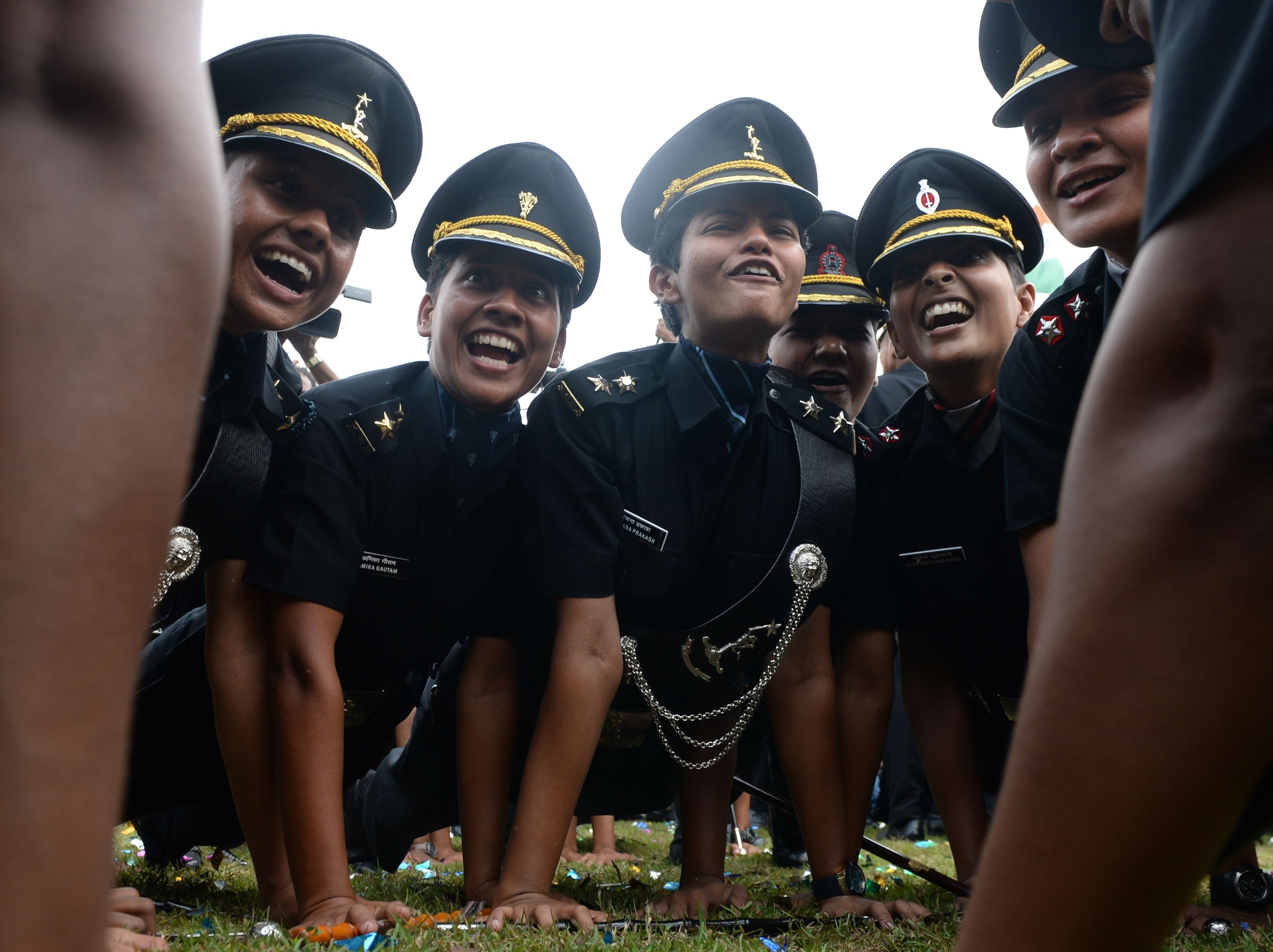 March 10, 2018: Indian army cadets celebrate after their graduation ceremony at the Officers Training Academy in Chennai.