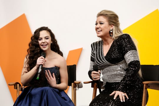 'The Voice' champ Chevel Shepherd, left, and her coach, singing star Kelly Clarkson, met with reporters right after Tuesday's Season 15 finale.