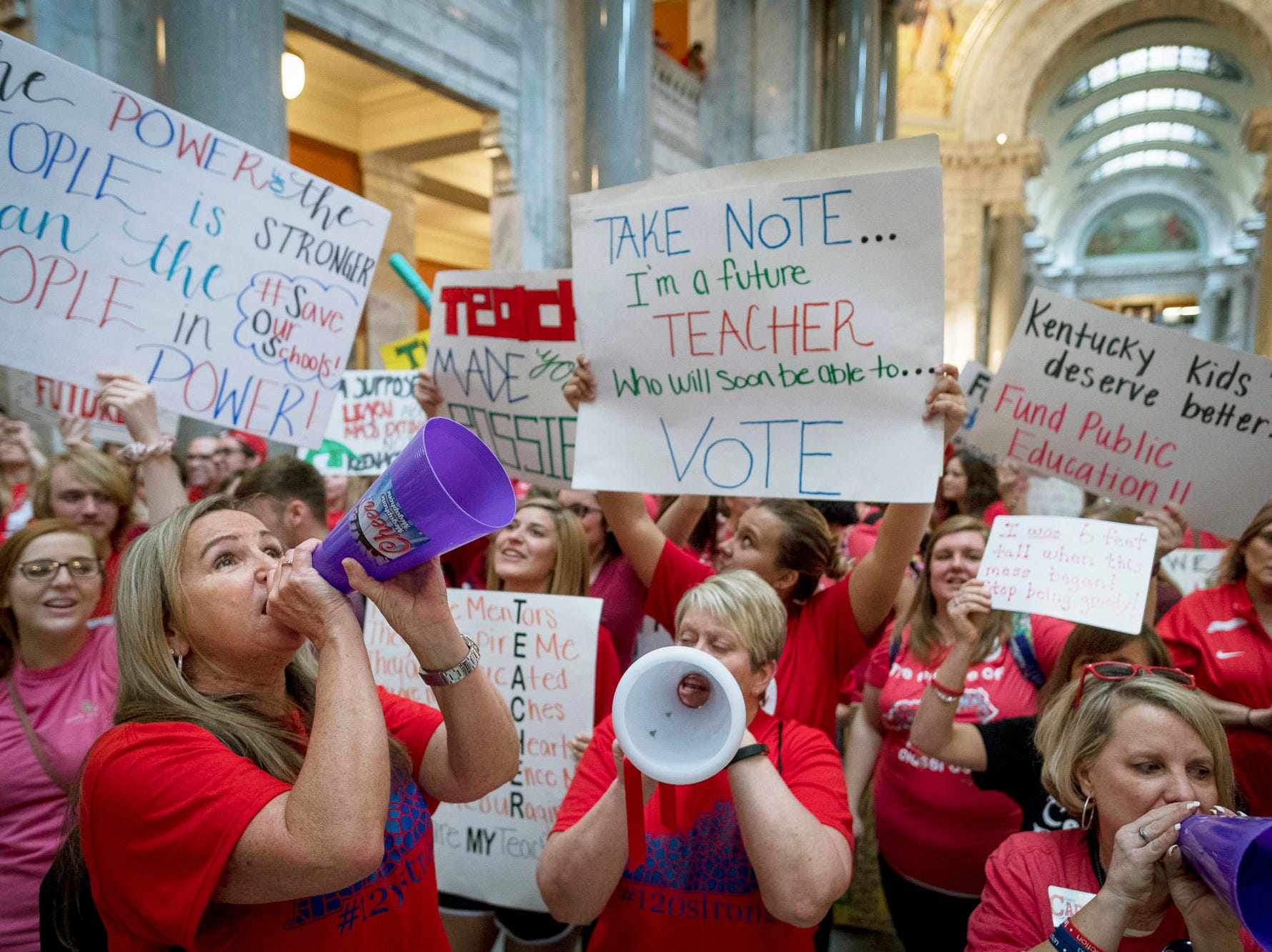 April 13, 2018: Teachers from across Kentucky gather inside the state Capitol to rally for increased funding for education in Frankfort, Ky.