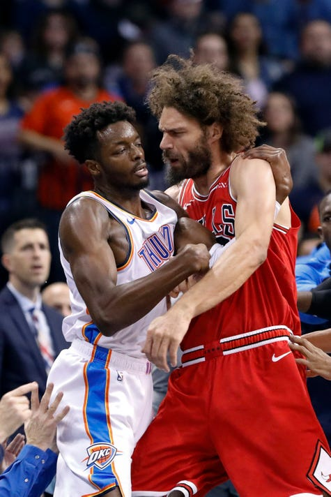 38808d6a2 Bulls-Thunder scuffle  NBA suspends two players