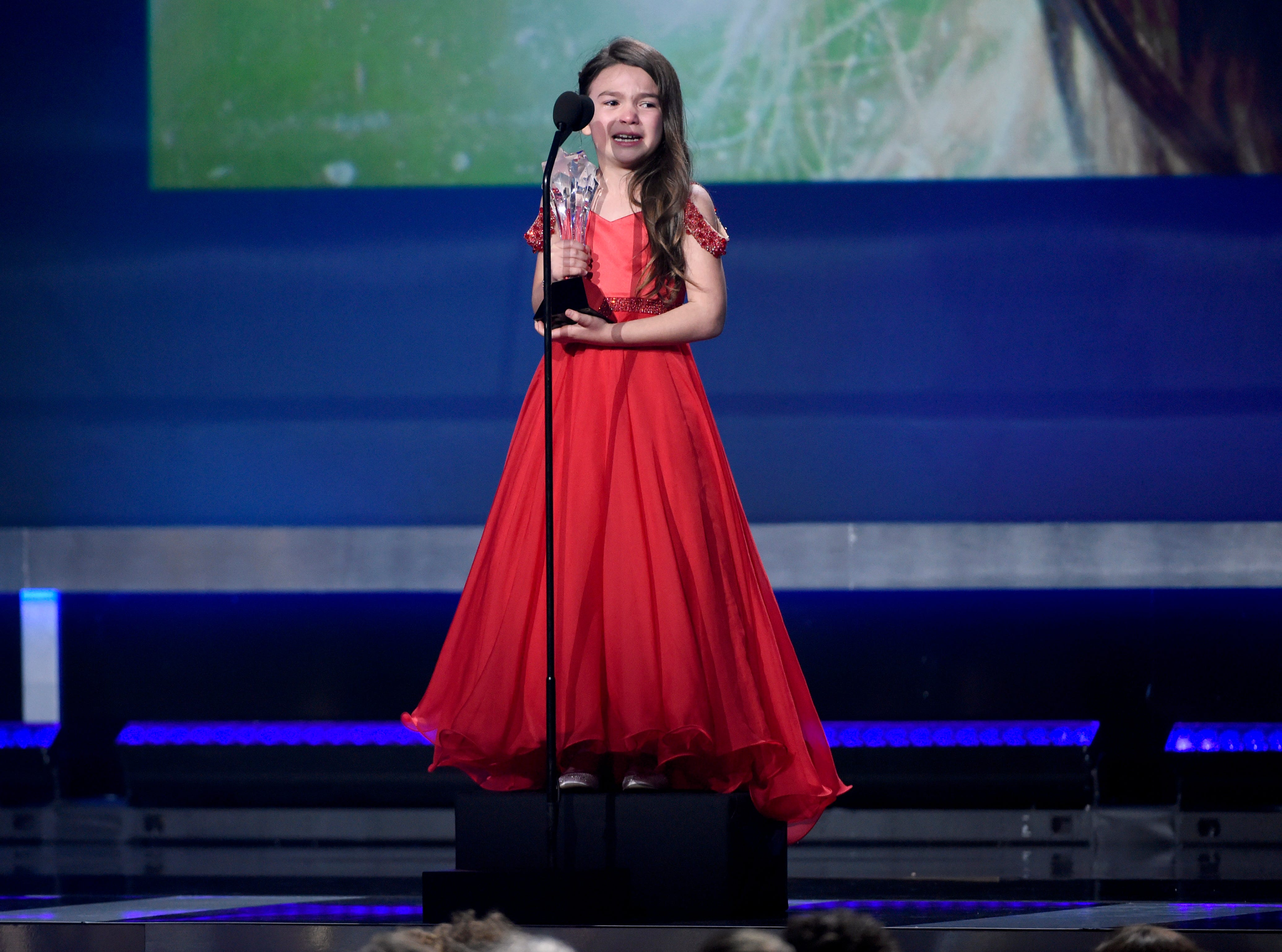 """Jan. 11, 2018: Brooklynn Prince accepts the award for best young actor/actress for """"The Florida Project"""" at the 23rd annual Critics' Choice Awards in Santa Monica, Calif."""