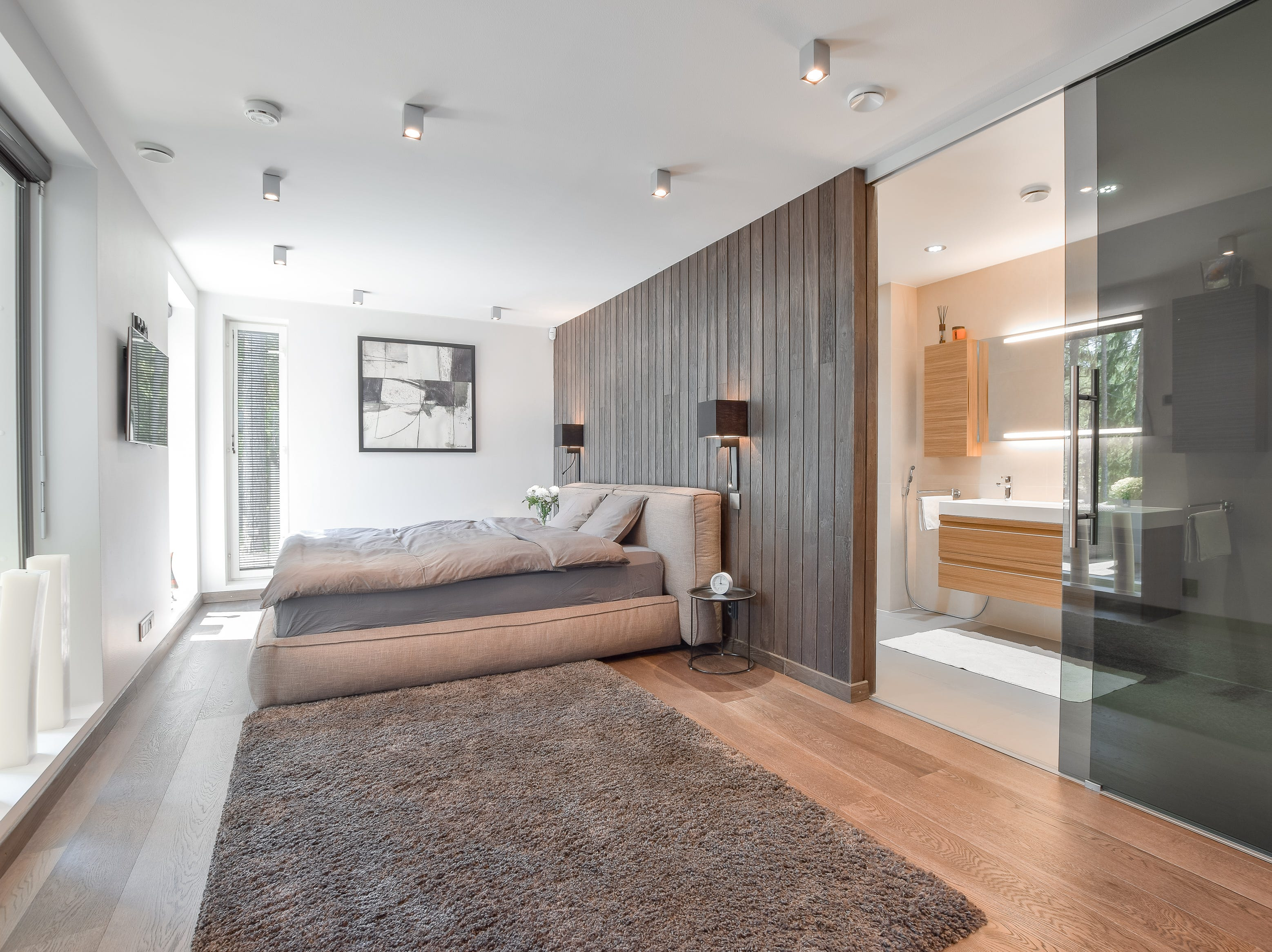 For $1.9 million, buyers can have this modern and functional villa with a master bedroom, bathroom and walk-in closet in Helsinki, Finland.