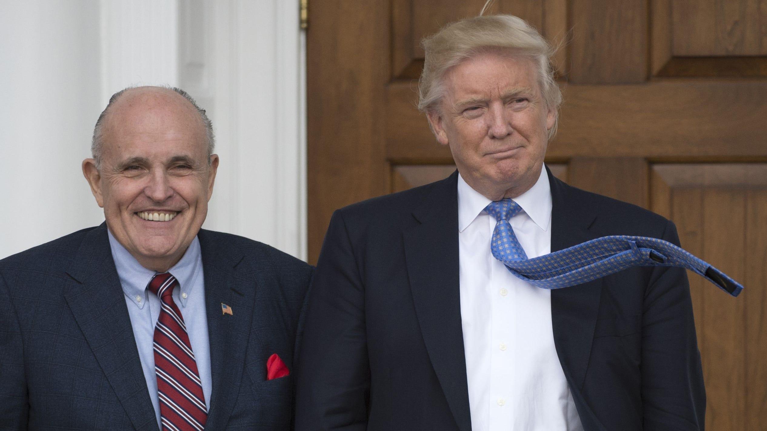 Donald Trump and Rudy Giuliani, Trump National Golf Club, Nov, 20, 2016, Bedminster, New Jersey.