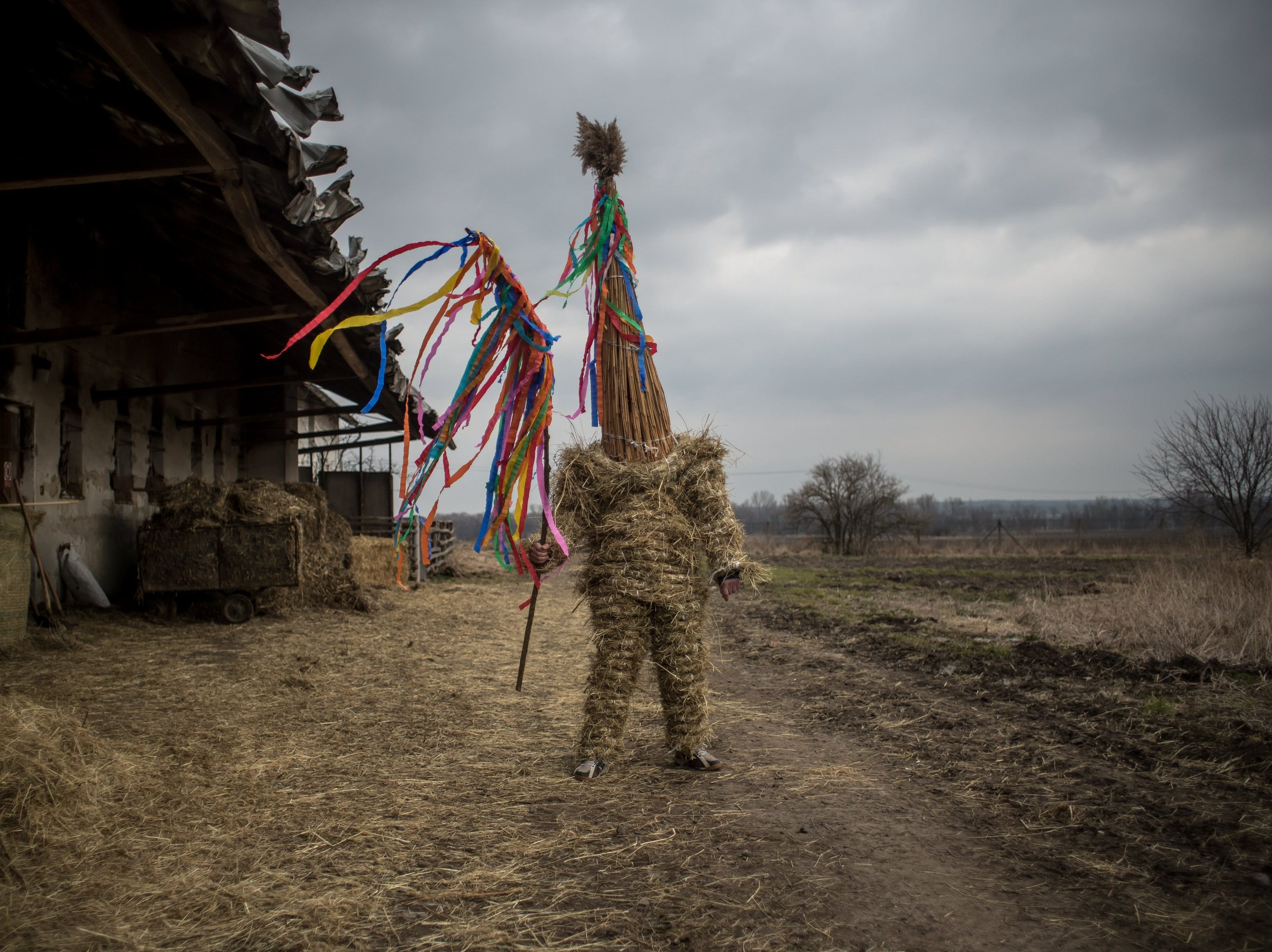 March 31, 2018: A boy dressed in hay suit prepares for an Easter procession called 'Marching Judas' in the village of Stradoun, Czech Republic.