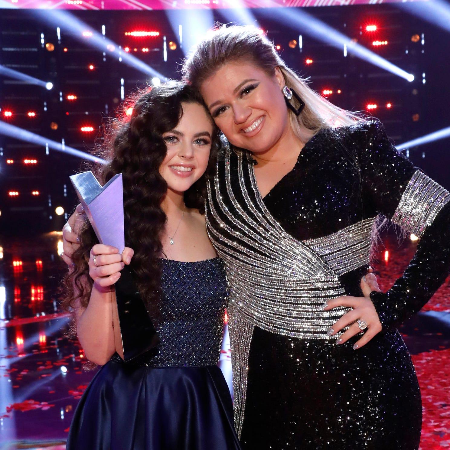 "Winner of Season 15 of ""The Voice,"" Chevel Shepherd, with her coach, singer Kelly Clarkson."