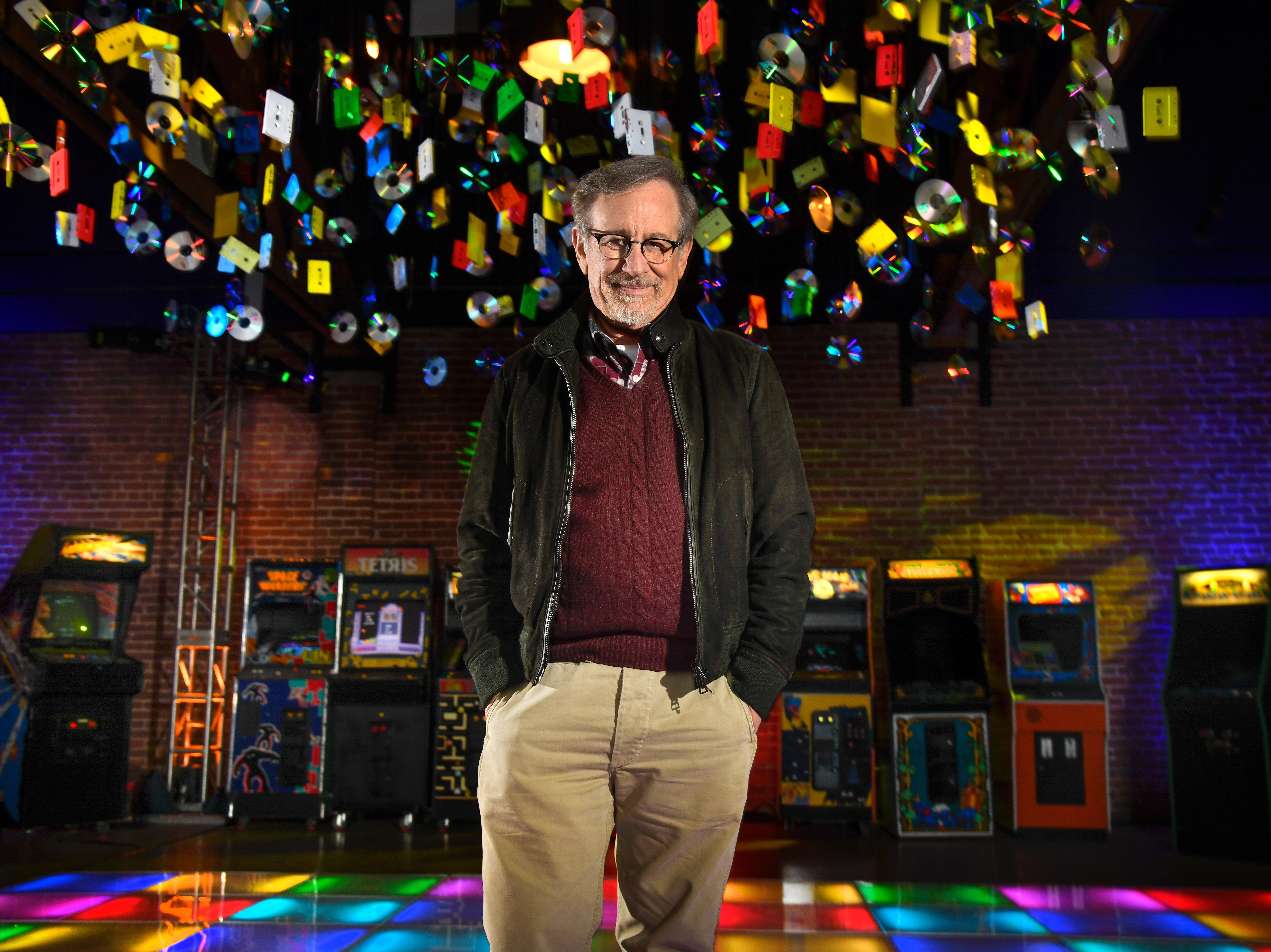 """March 15, 2018: Steven Spielberg poses for a photo during promoting for his film, """"Ready Player One."""""""