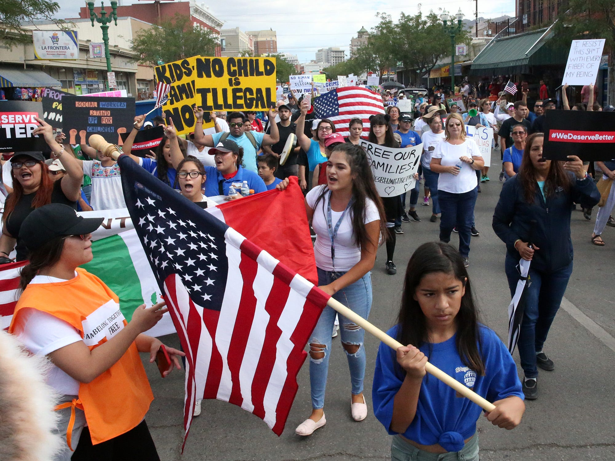 June 30, 2018: Demonstrators  march down South El Paso Street to the base of the Paso Del Norte Port of Entry during a Òmassive mobilizationÓ in downtown El Paso, Texas calling for the end of federal practices of separating immigrant families and children who were seeking asylum.
