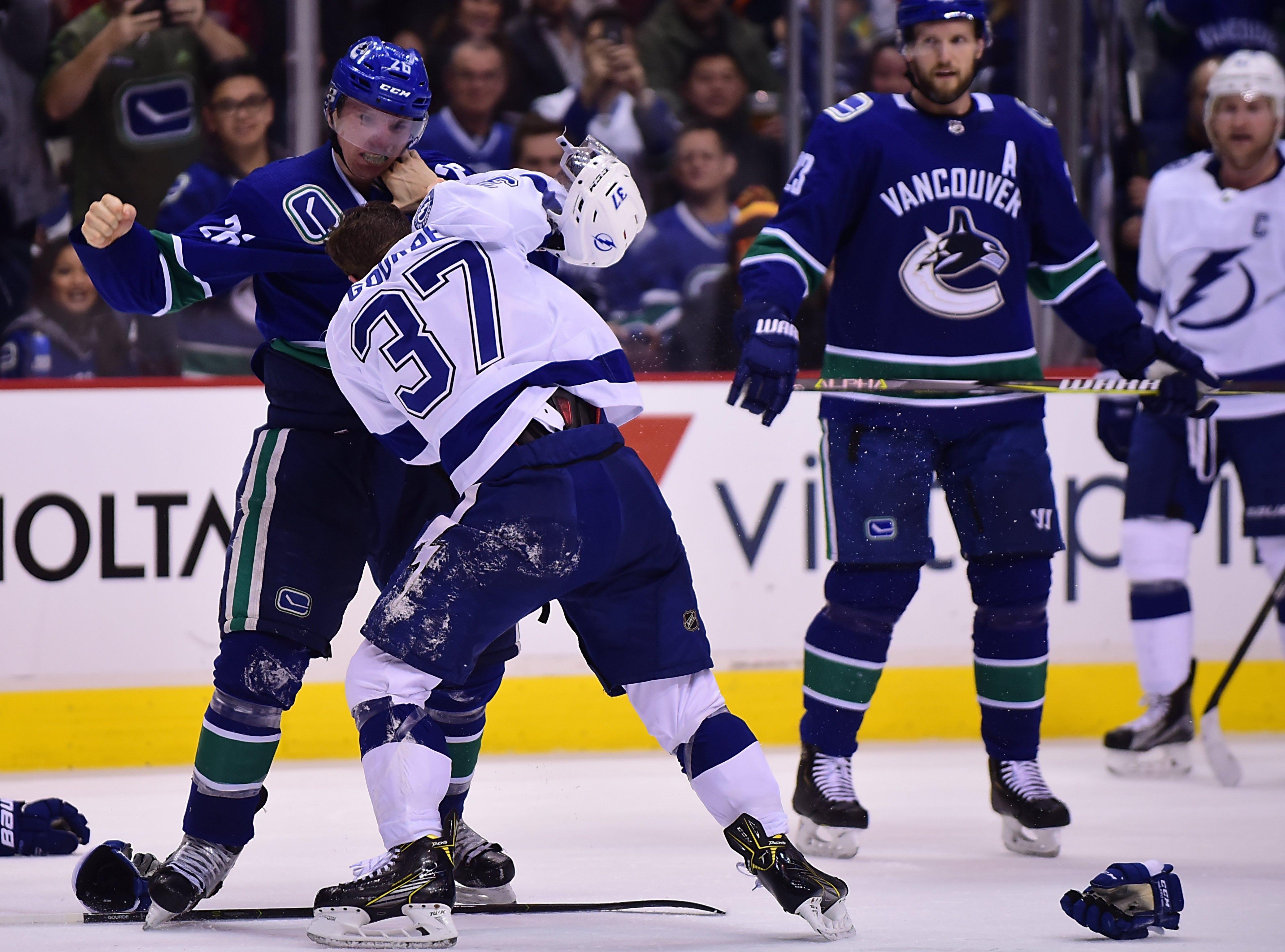 Dec. 18: Vancouver Canucks' Antoine Roussel vs. Tampa Bay Lightning's Yanni Gourde.