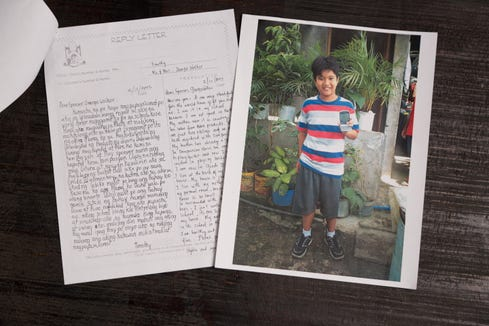 Exchanges between former President George H.W. Bush and a young boy in the Philippines whom Bush secretly sponsored for 10 years through the organization Compassion International in Colorado Springs, Colo.