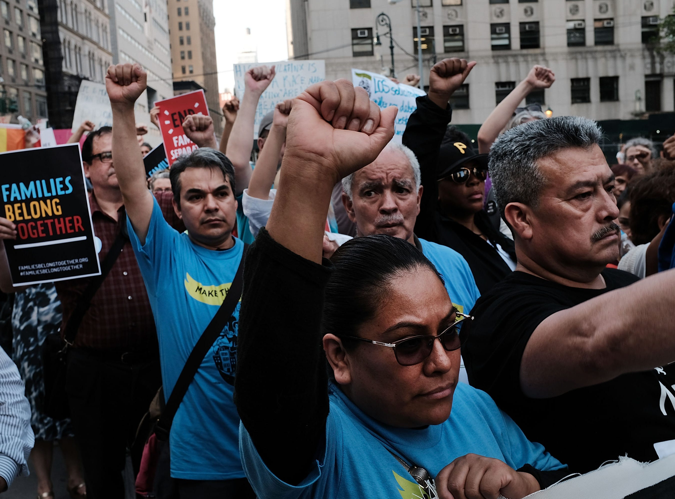 June 1, 2018: Hundreds of immigrant rights advocates and others participate in rally and and demonstration at the Federal Building in lower Manhattan against the Trump administration's policy that enables federal agents to take migrant children away from their parents at the border in New York.