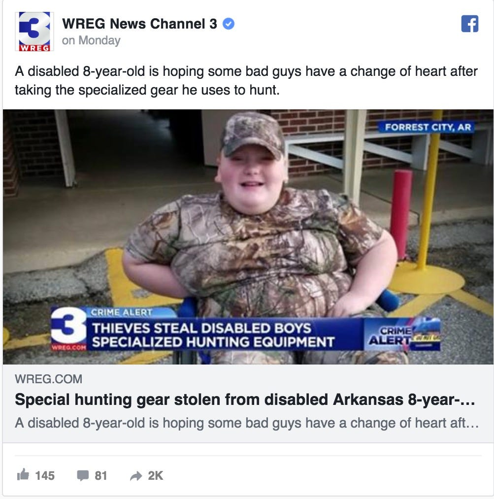 Jayce Collum, 8, says his custom hunting gear was stolen last week in Arkansas.