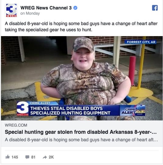 boy 8 with disability asks thieves to return custom hunting gear