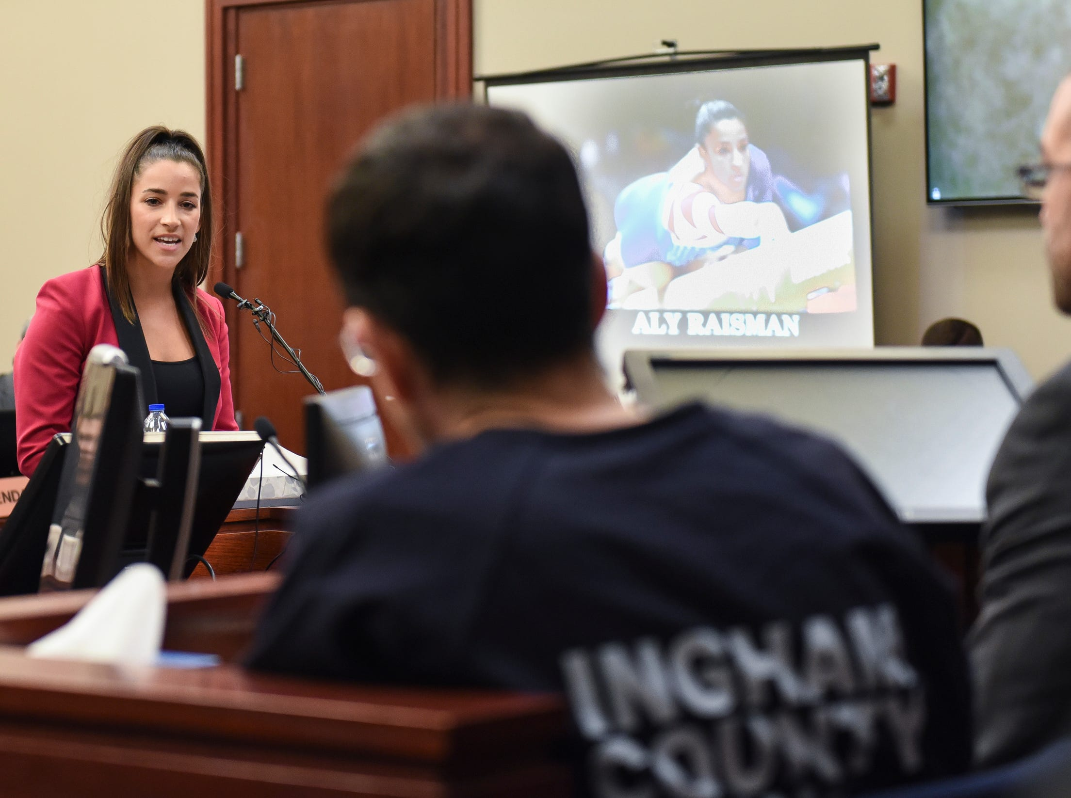 Jan. 19, 2018: Former Olympian Aly Raisman confronts Larry Nassar in Circuit Judge Rosemarie Aquilina's courtroom during the fourth day of victim impact statements. Nassar, the former sports medicine doctor, pled guilty to seven counts of sexual assault in Ingham County, and three in Eaton County.