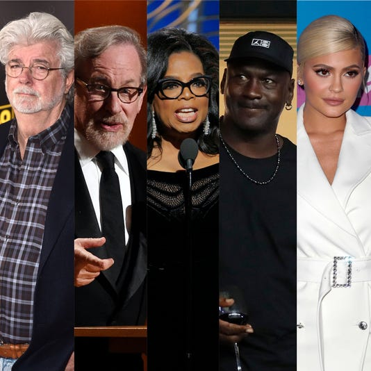 Forbes' richest celebrities: George Lucas, Oprah, Kylie