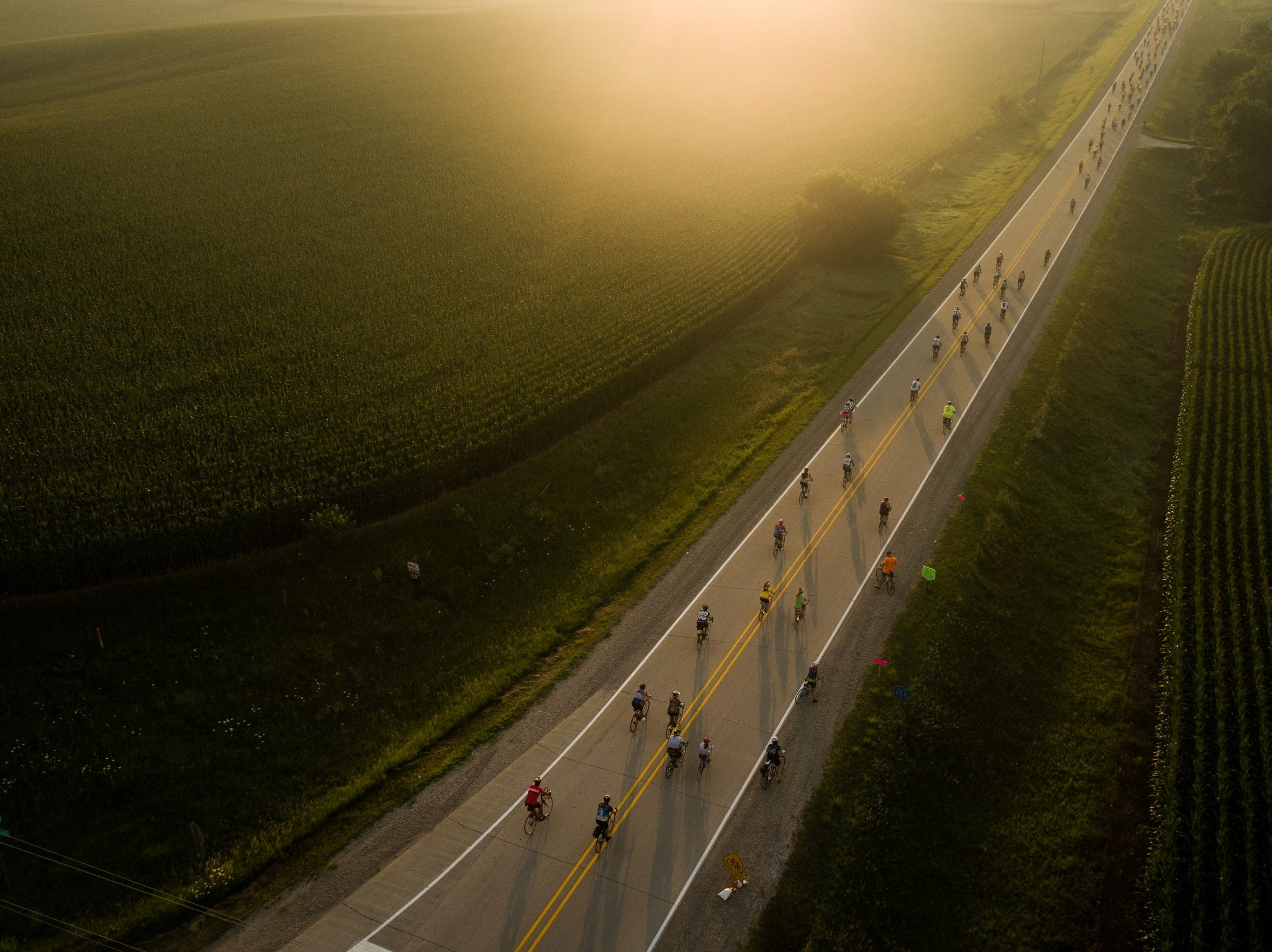 July 23, 2018: Cyclist make their way during the second day of RAGBRAI bicycle ride in Iowa.