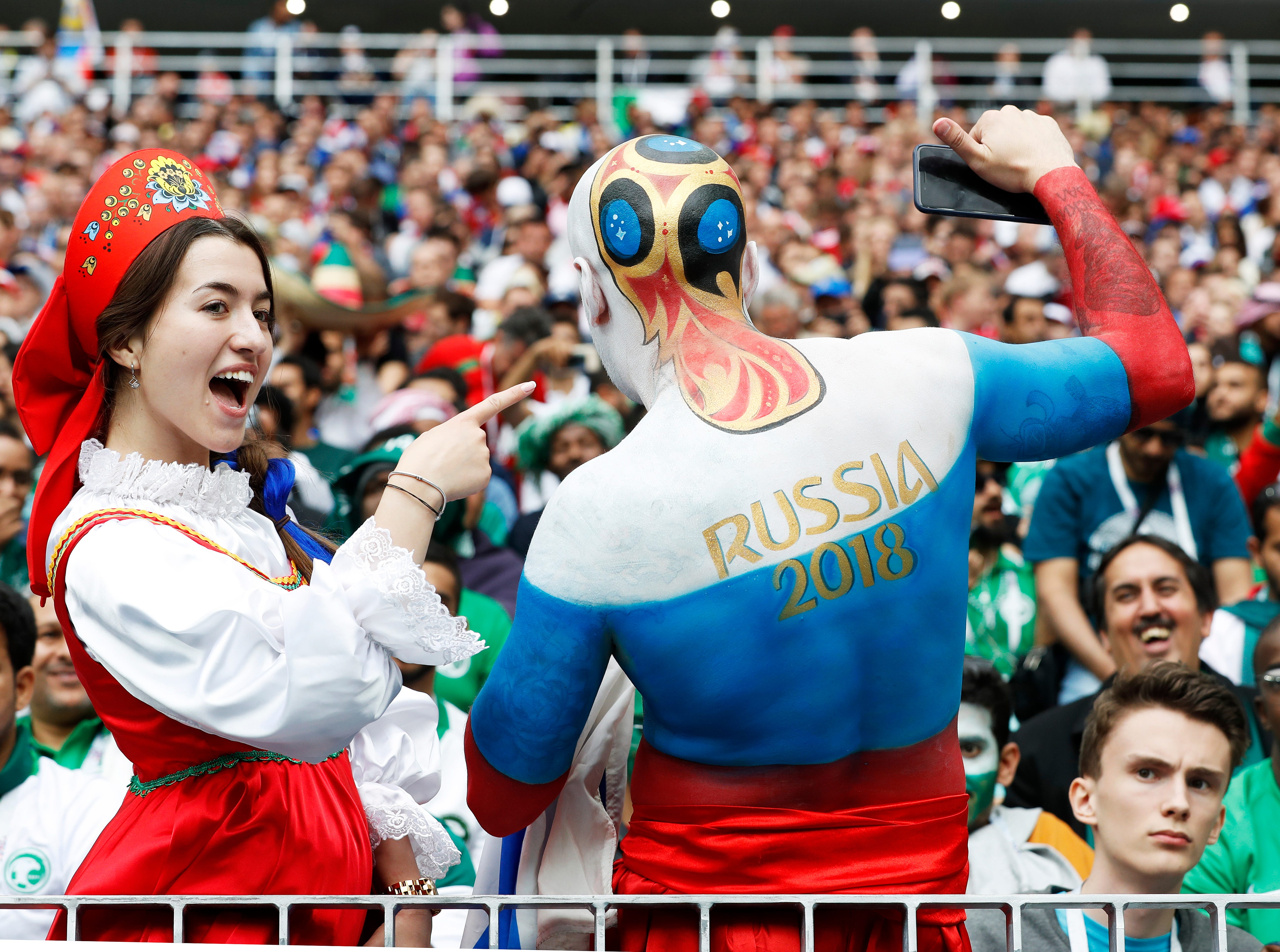 June 14, 2018: Russian fans pictured before the start of the FIFA World Cup 2018 group A preliminary round soccer match between Russia and Saudi Arabia in Moscow, Russia.