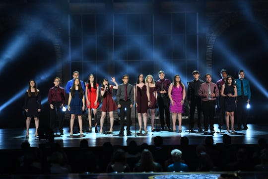 "Students from Marjory Stoneman Douglas High School in Parkland, Florida, perform ""Seasons of Love"" from the musical ""Rent"" at the 72nd Tony Awards at Radio City Music Hall."