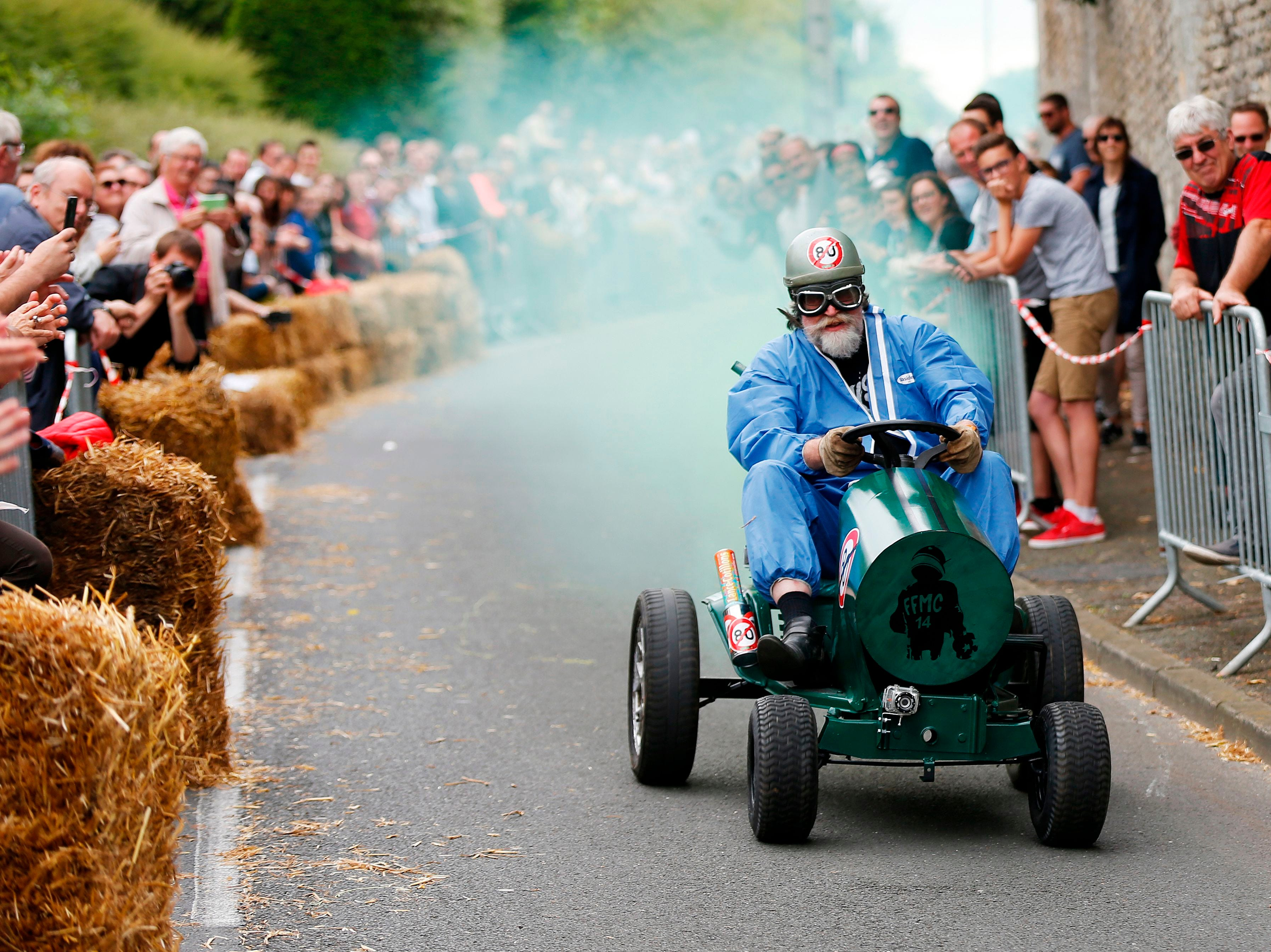 June 17, 2018: A participant competes during a soap box derby in Colombelles, France.