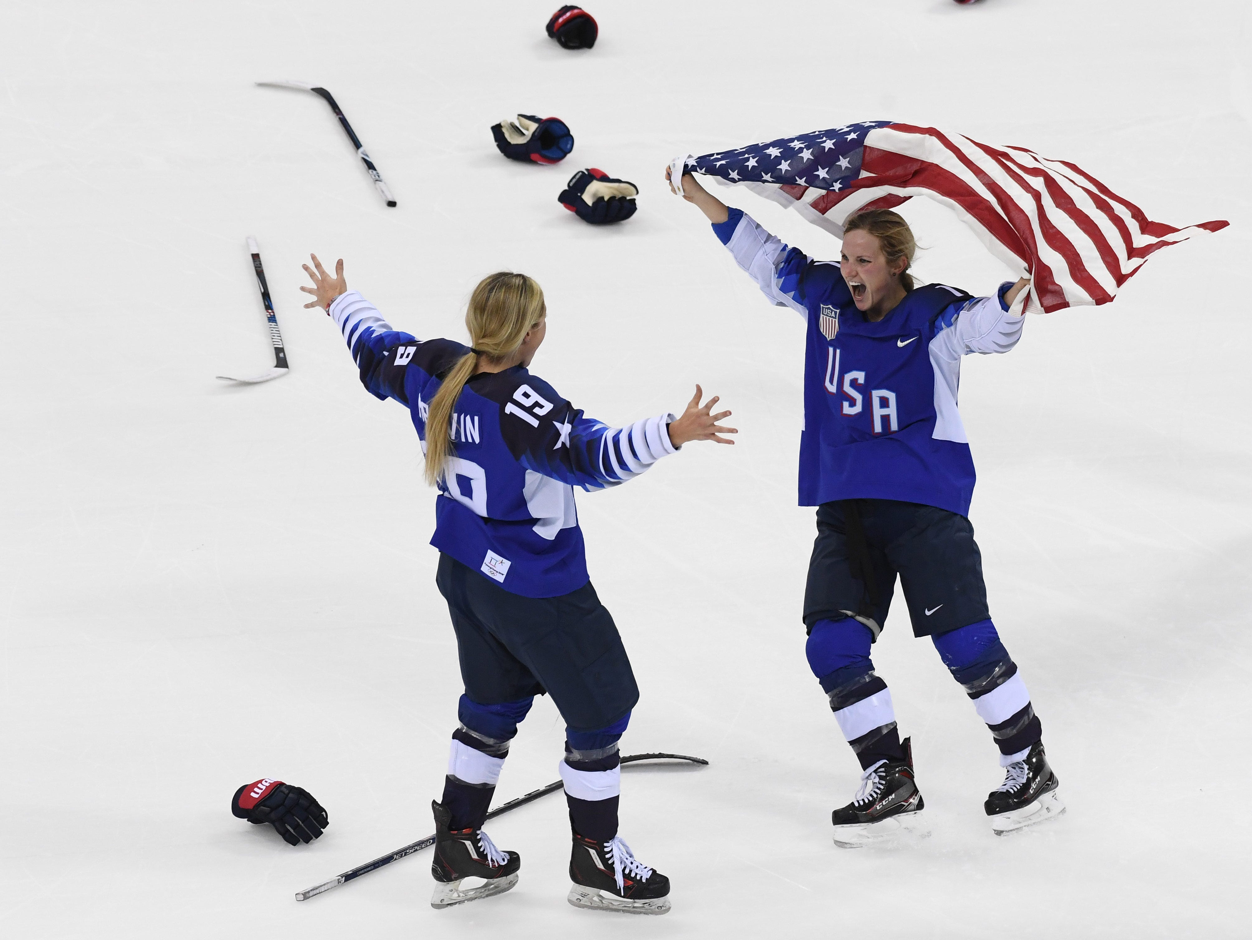 Feb. 22, 2018: The United States women's hockey team celebrates after defeating Canada in the gold medal match during the Pyeongchang 2018 Olympic Winter Games at Gangneung Hockey Centre.