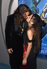 """Jason Momoa and wife Lisa Bonet arrive at the premiere of """"Aquaman"""" at the Chinese Theatre on Dec. 12. The couple had some private time at the after-party."""
