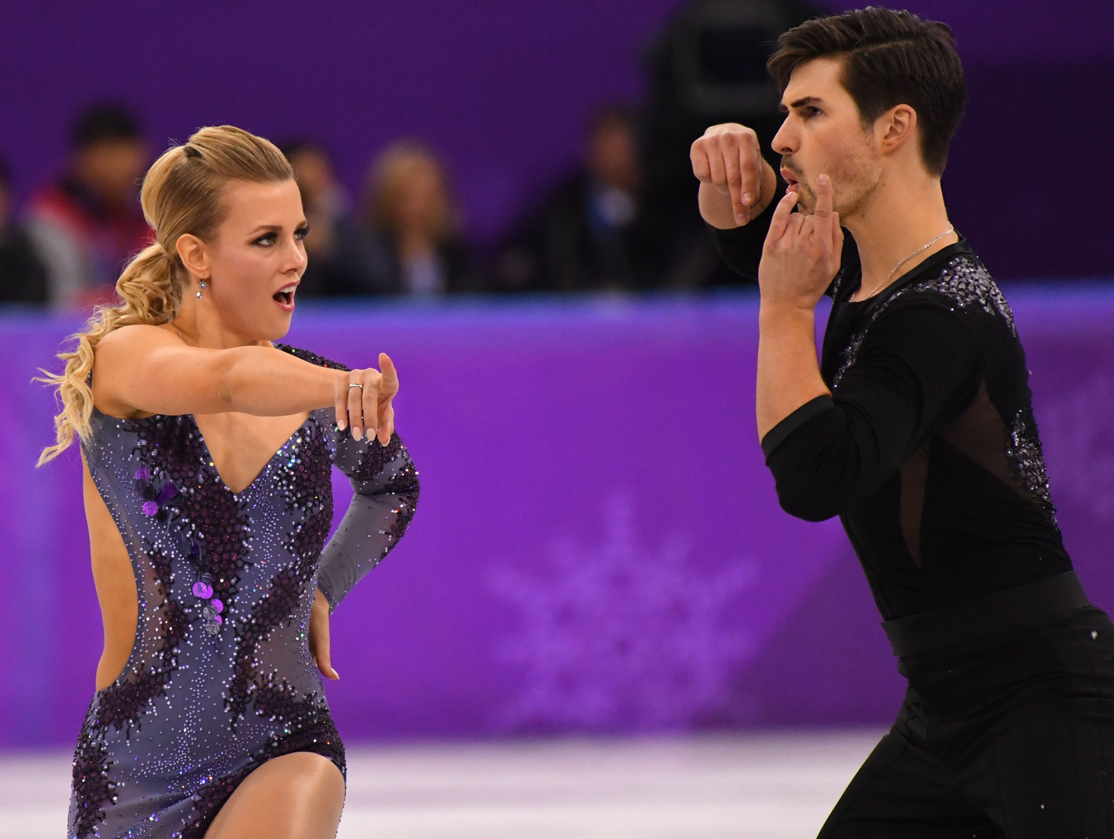 Feb. 19, 2018: Madison Hubbell and Zachary Donohue perform in the short dance event during the Pyeongchang 2018 Olympic Winter Games at Gangneung Ice Arena.