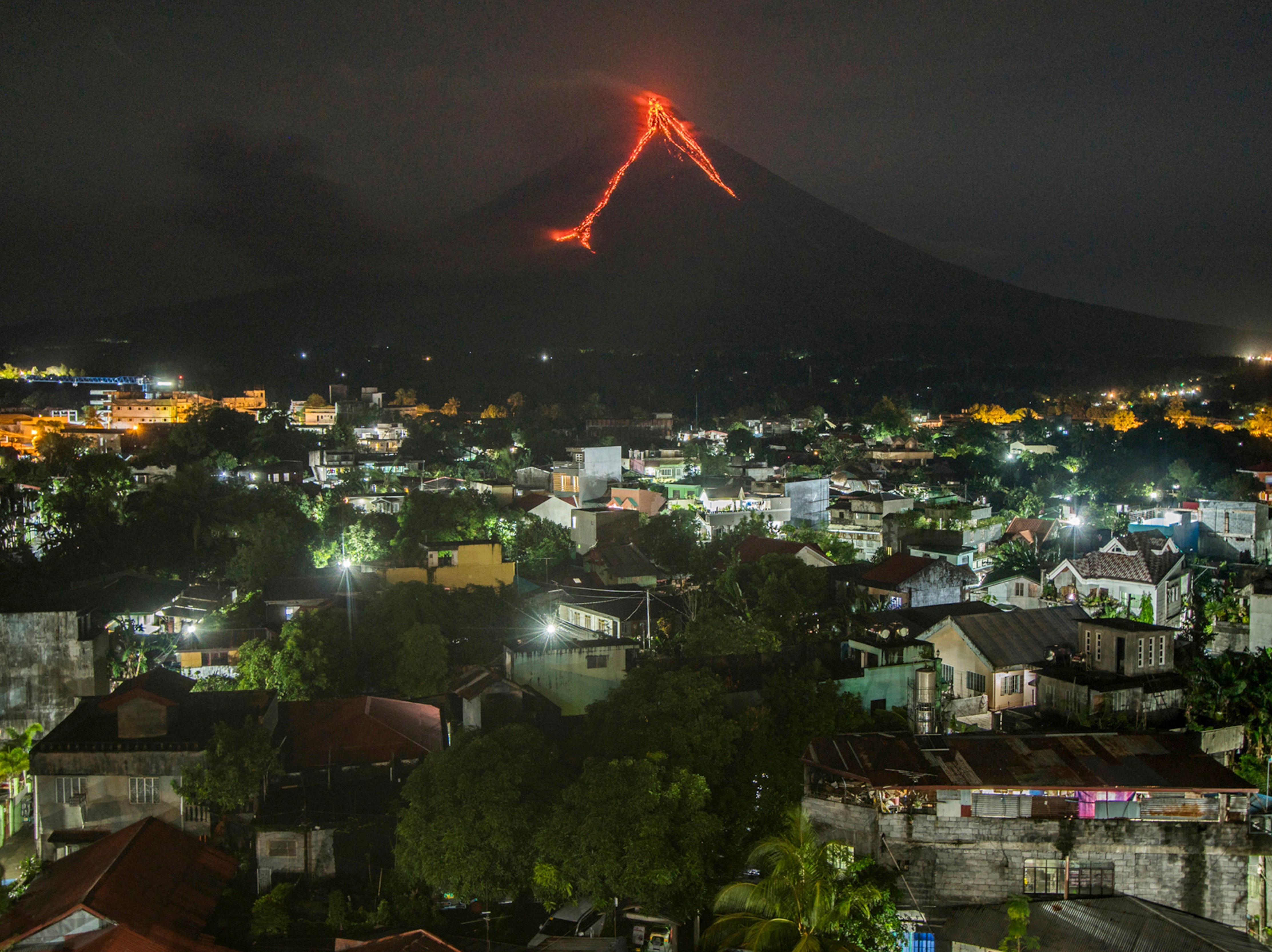 Jan. 15, 2018: Lava cascades down the slopes of the Mayon volcano in Legazpi Philippines.