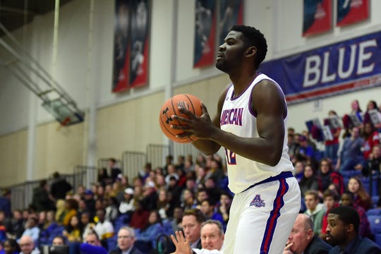 American University Eagles forward Yilret Yiljep looks to pass during the first half against the New Hampshire Wildcats on Nov. 16, 2018 in Washington.