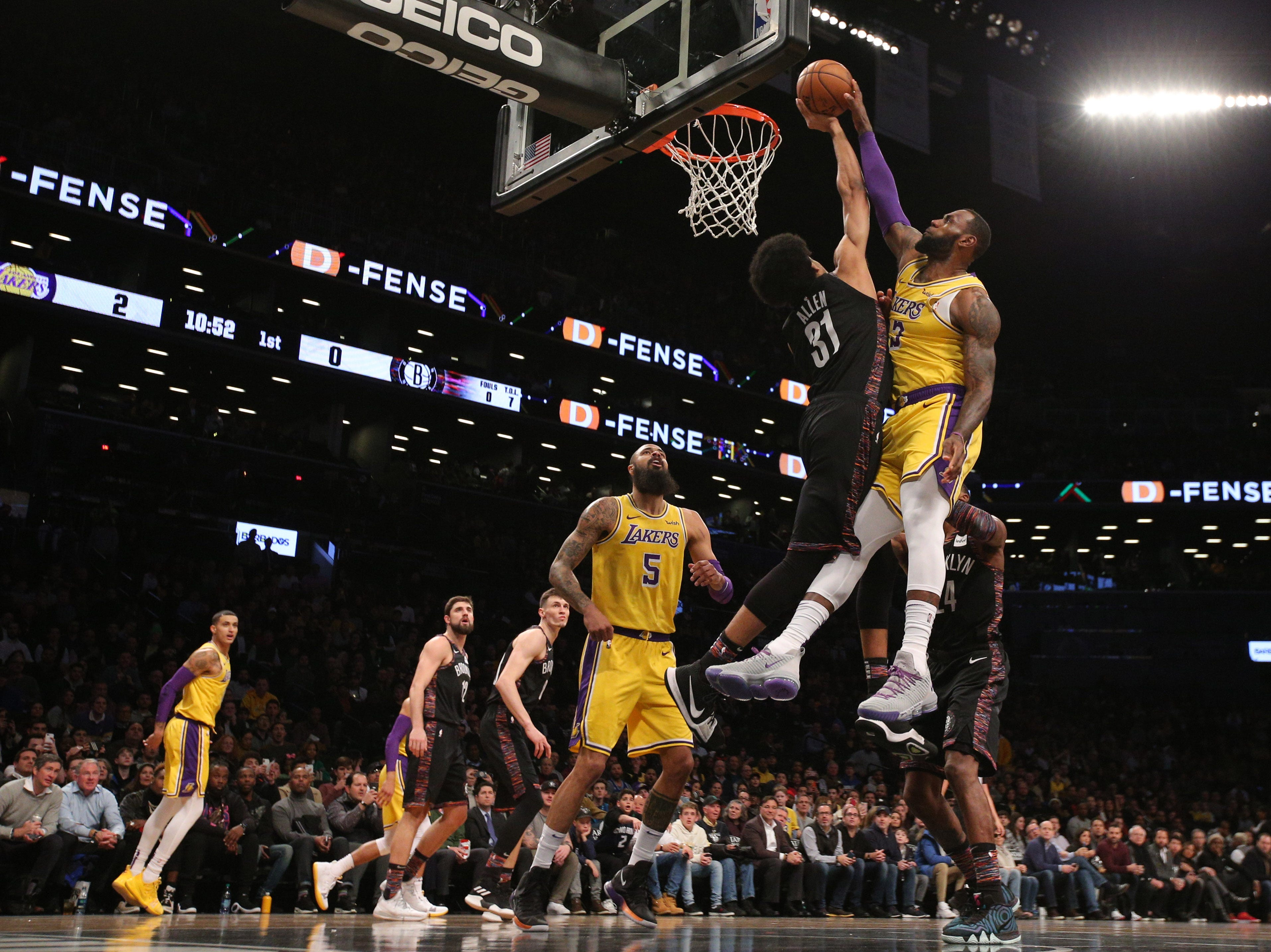 Dec. 18: Brooklyn Nets center Jarrett Allen (31) blocks a shot by Los Angeles Lakers forward LeBron James (23) during the first quarter at Barclays Center.