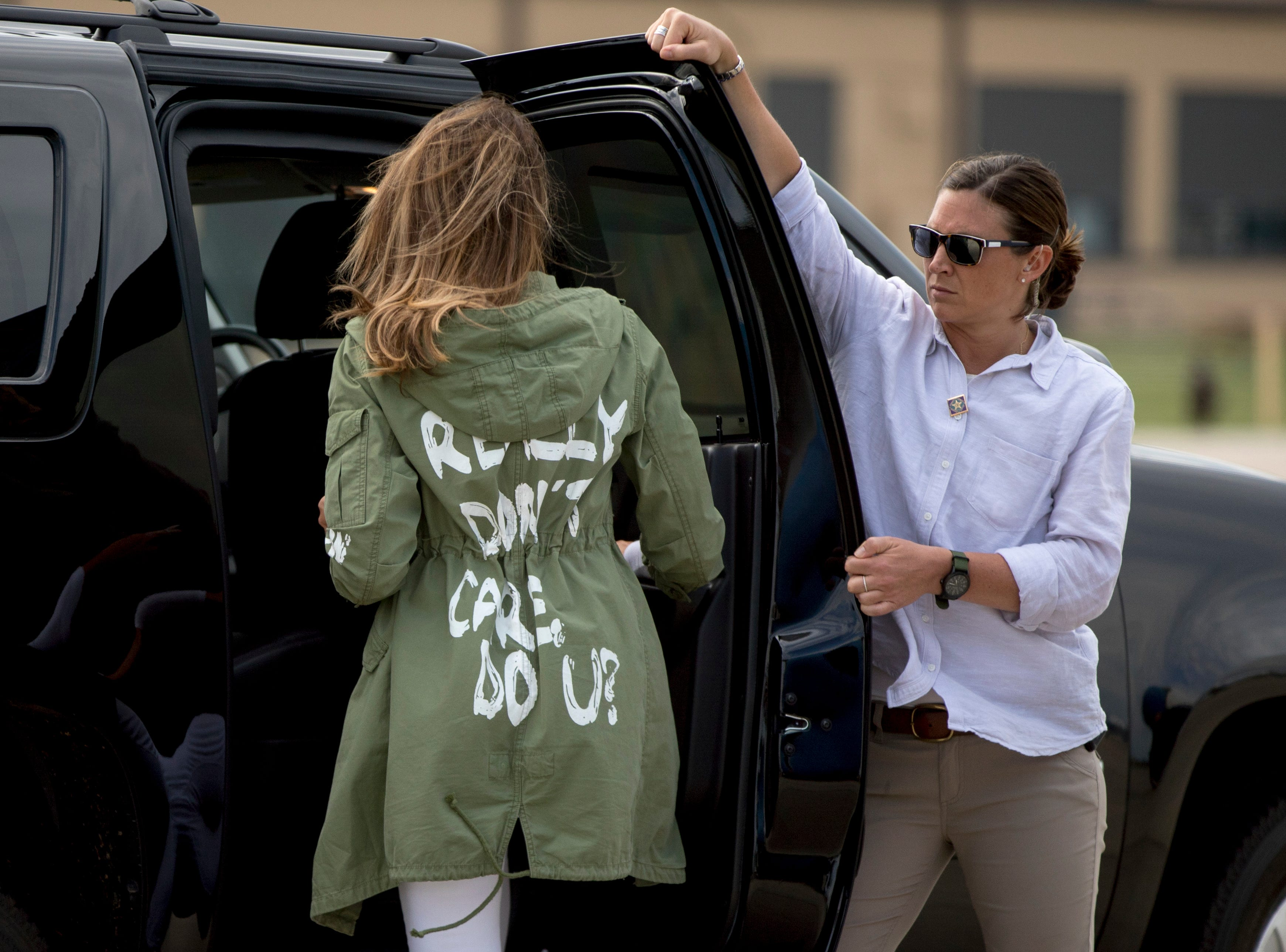 June 21, 2018: First lady Melania Trump walks to her vehicle as she arrives at Andrews Air Force Base, Md. after visiting the Upbring New Hope Children Center run by the Lutheran Social Services of the South in McAllen, Texas.
