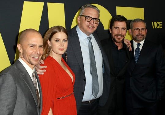 """Vice"" writer/director Adam McKay, center, stands with his cast (from left): Sam Rockwell, Amy Adams, Christian Bale and Steve Carell."