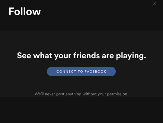 """Spotify asking you to """"connect to Facebook"""" on its desktop app."""