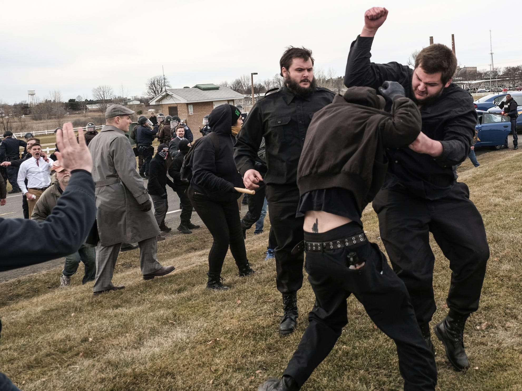 March 5, 2018: Protestors and supporters of Richard Spencer clash outside of the MSU Pavilion for Agriculture and Livestock Education on the Michigan State University campus.