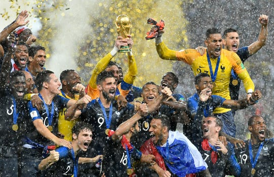 July 15, 2018: France goalkeeper Hugo Lloris lifts the trophy after France won 4-2 during the final match between France and Croatia at the 2018 soccer World Cup in the Luzhniki Stadium in Moscow, Russia.