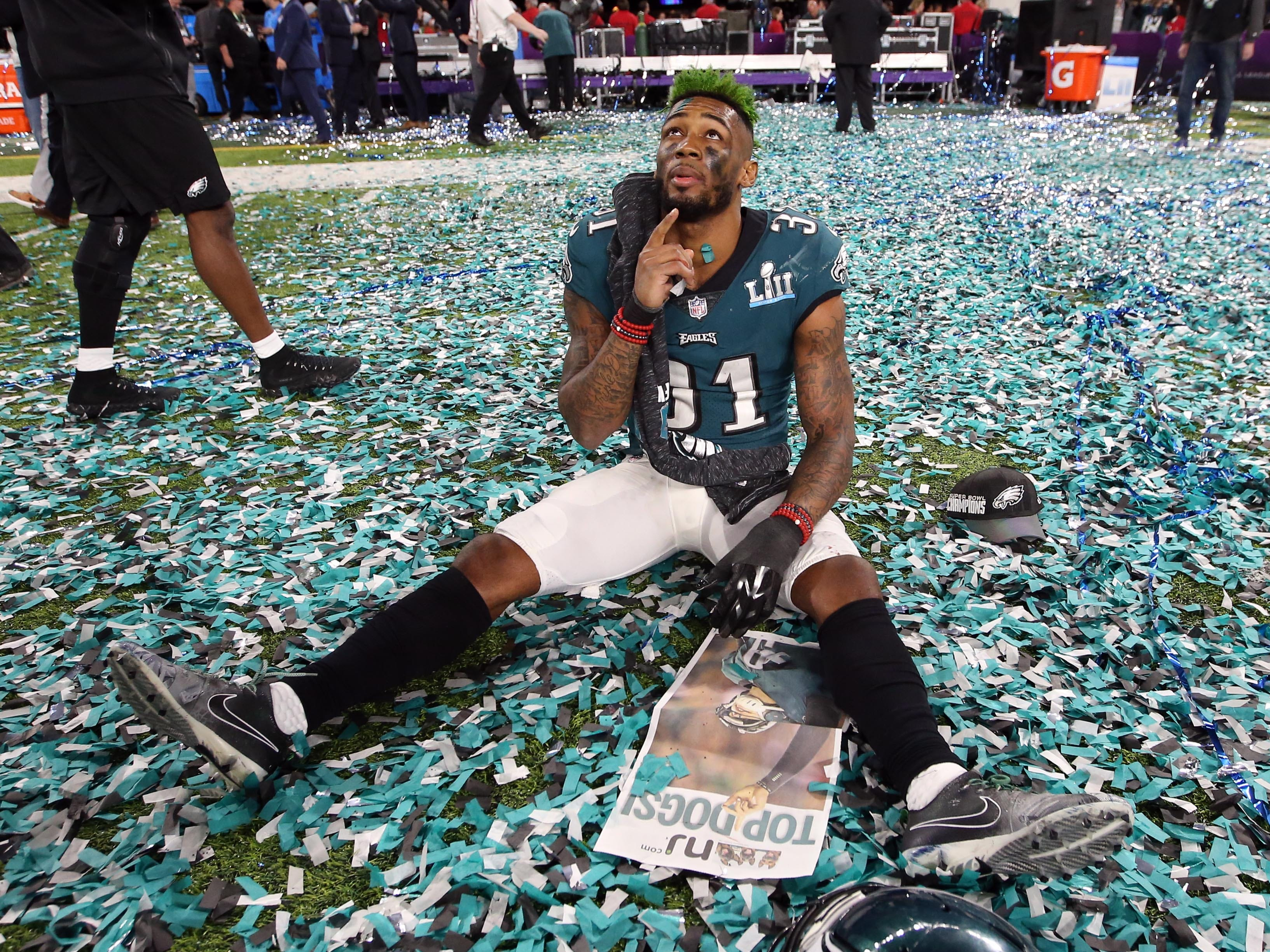 Feb. 4, 2018: Philadelphia Eagles cornerback Jalen Mills reacts after defeating the New England Patriots in Super Bowl LII at U.S. Bank Stadium in  Minneapolis, Minn.