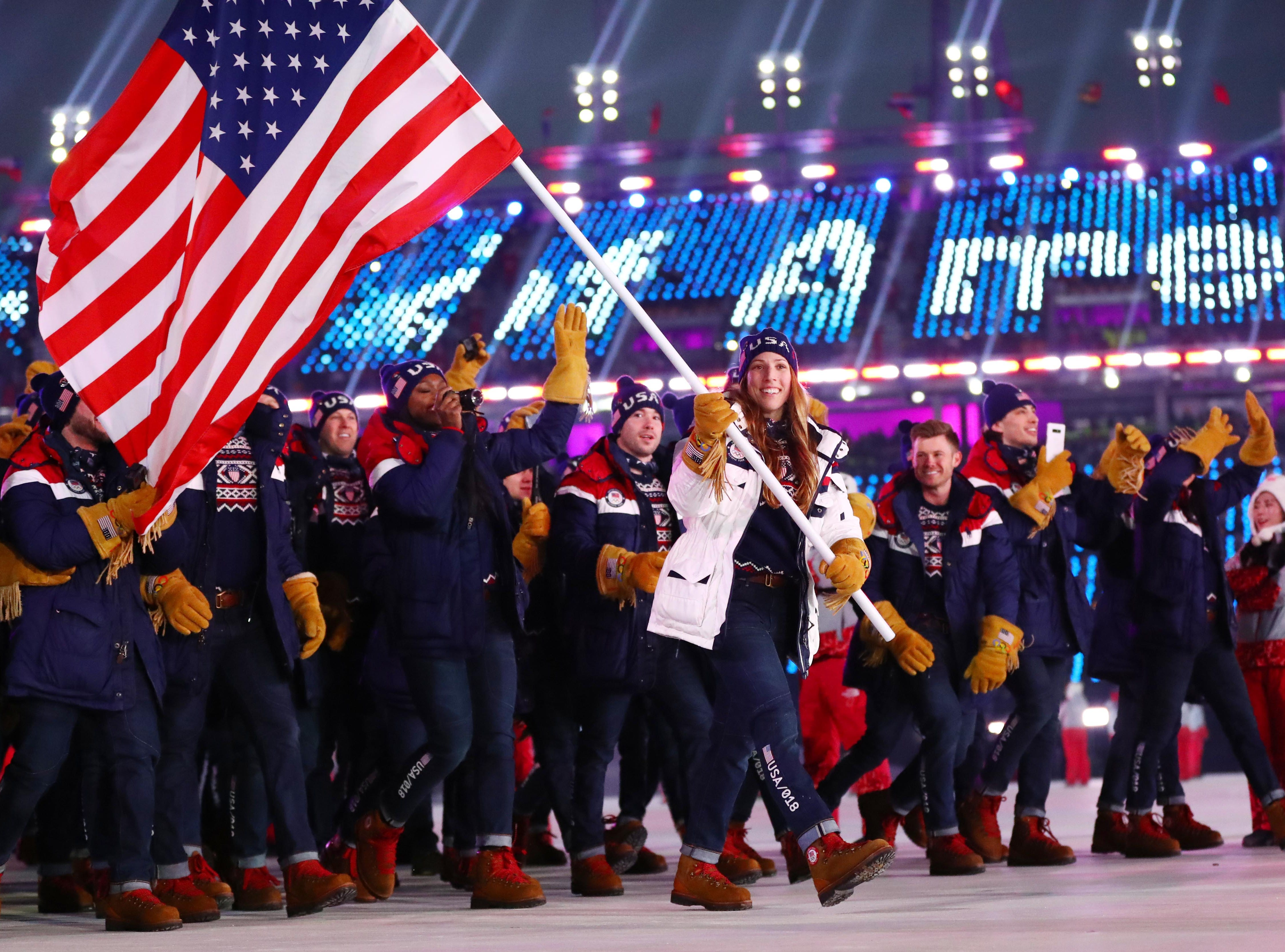 Feb. 9, 2018: Erin Hamlin leads the delegation from the United States during the opening ceremony for the Pyeongchang 2018 Olympic Winter Games at Pyeongchang Olympic Stadium.