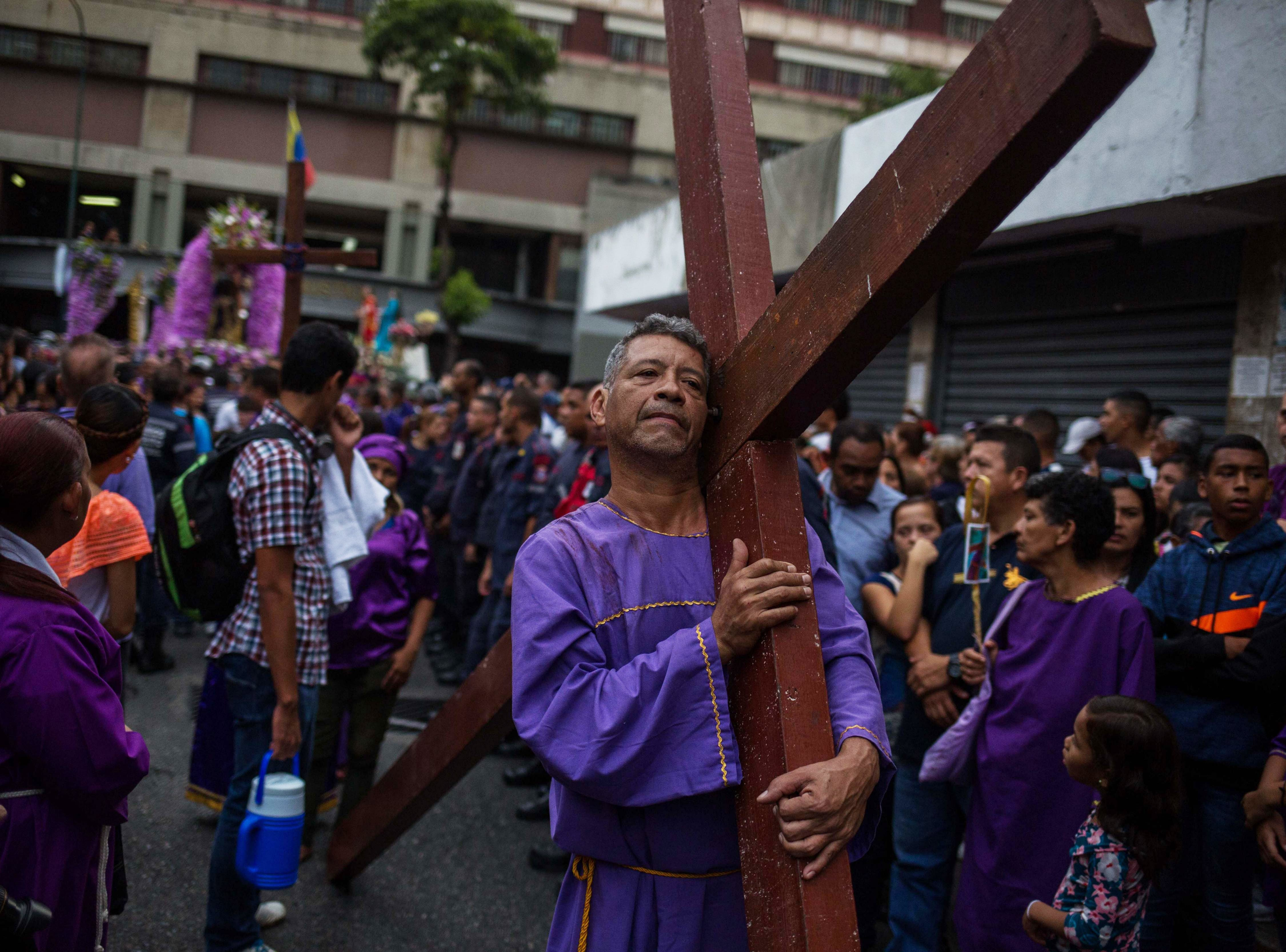 March 28, 2018: Parishioners participate in the annual Holy Wednesday procession, at the Basilica of Santa Teresa in Caracas, Venezuela.