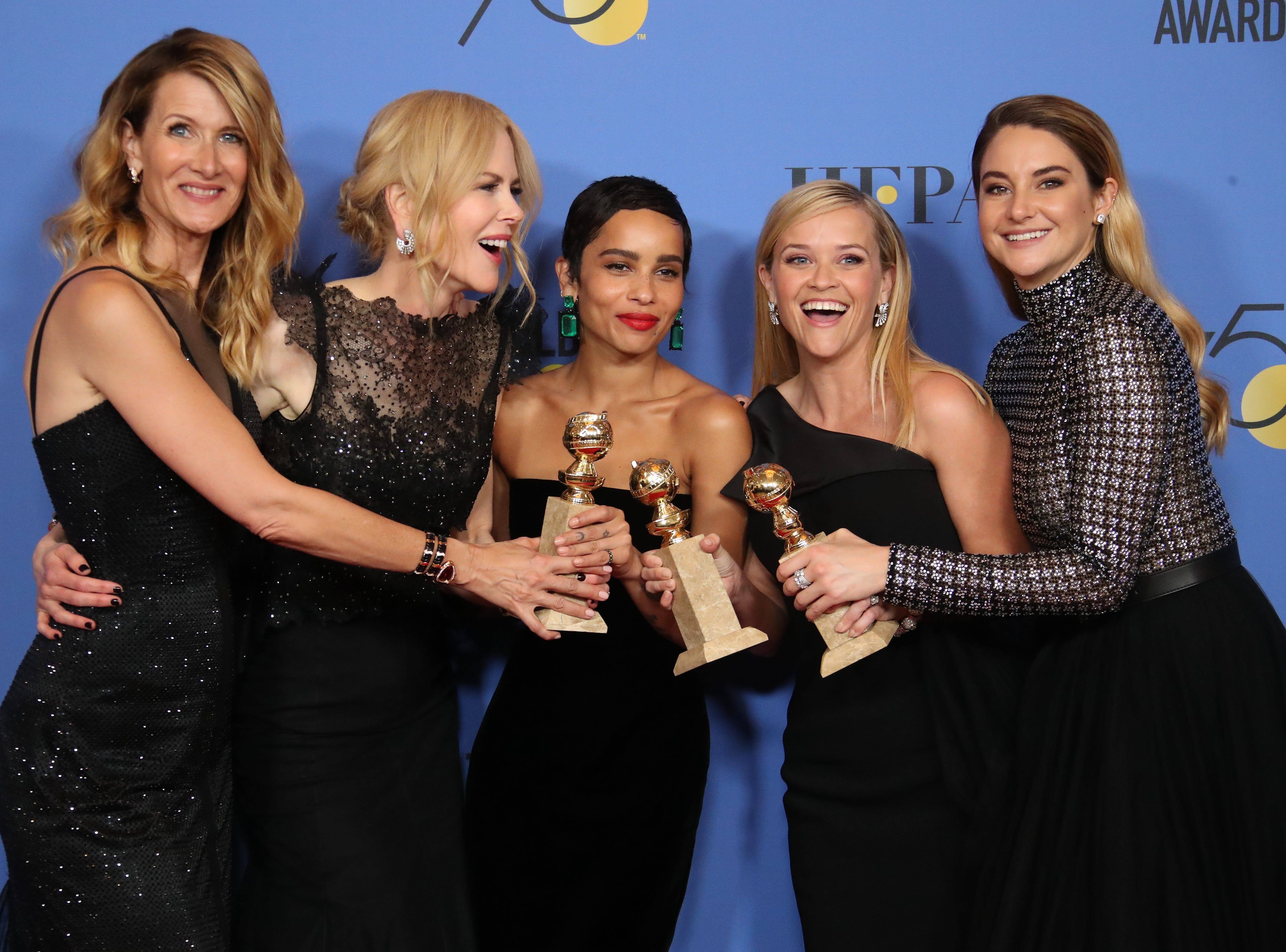 Jan. 7, 2018: Laura Dern, Nicole Kidman, Zoe Kravitz, Reese Witherspoon, and Shailene Woodley pose with their awards in the photo room at the 75th Golden Globe Awards.