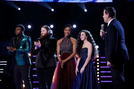 "Tension mounted Tuesday as Season 15 finalists Kirk Jay, left, Chris Kroeze, Kennedy Homes and Chevel Shepherd waited for host Carson Daly to announce the winner of ""The Voice."""