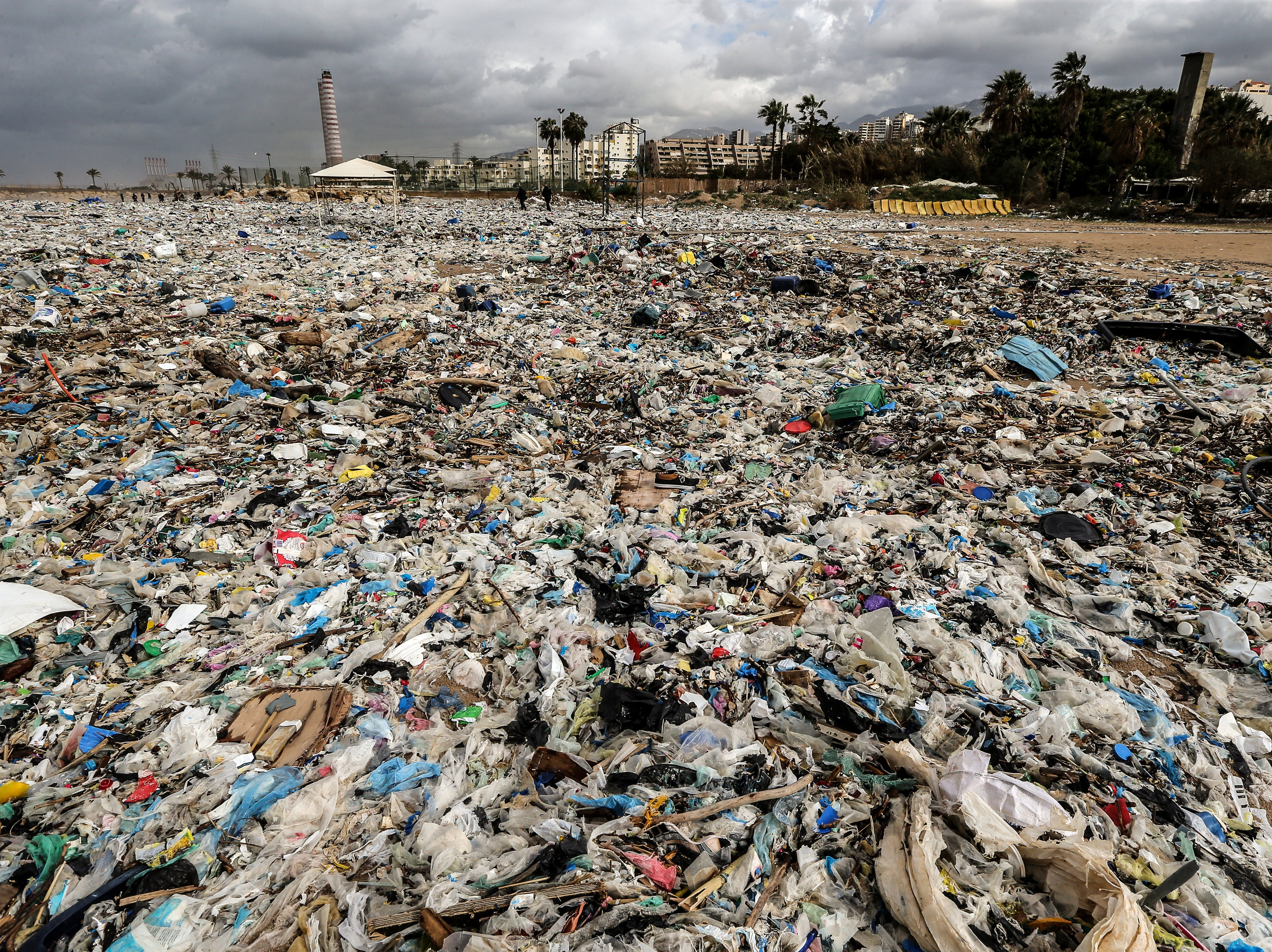 Jan. 23, 2108: Garbage is washed on the shore a day after a winter storm hit the Zouk Musbeh area, north of Beirut, Lebanon. Lebanon is going through a waste crisis amid a disagreement between the Ministry of the Environment and civil society organizations on ways to resolve the issue.