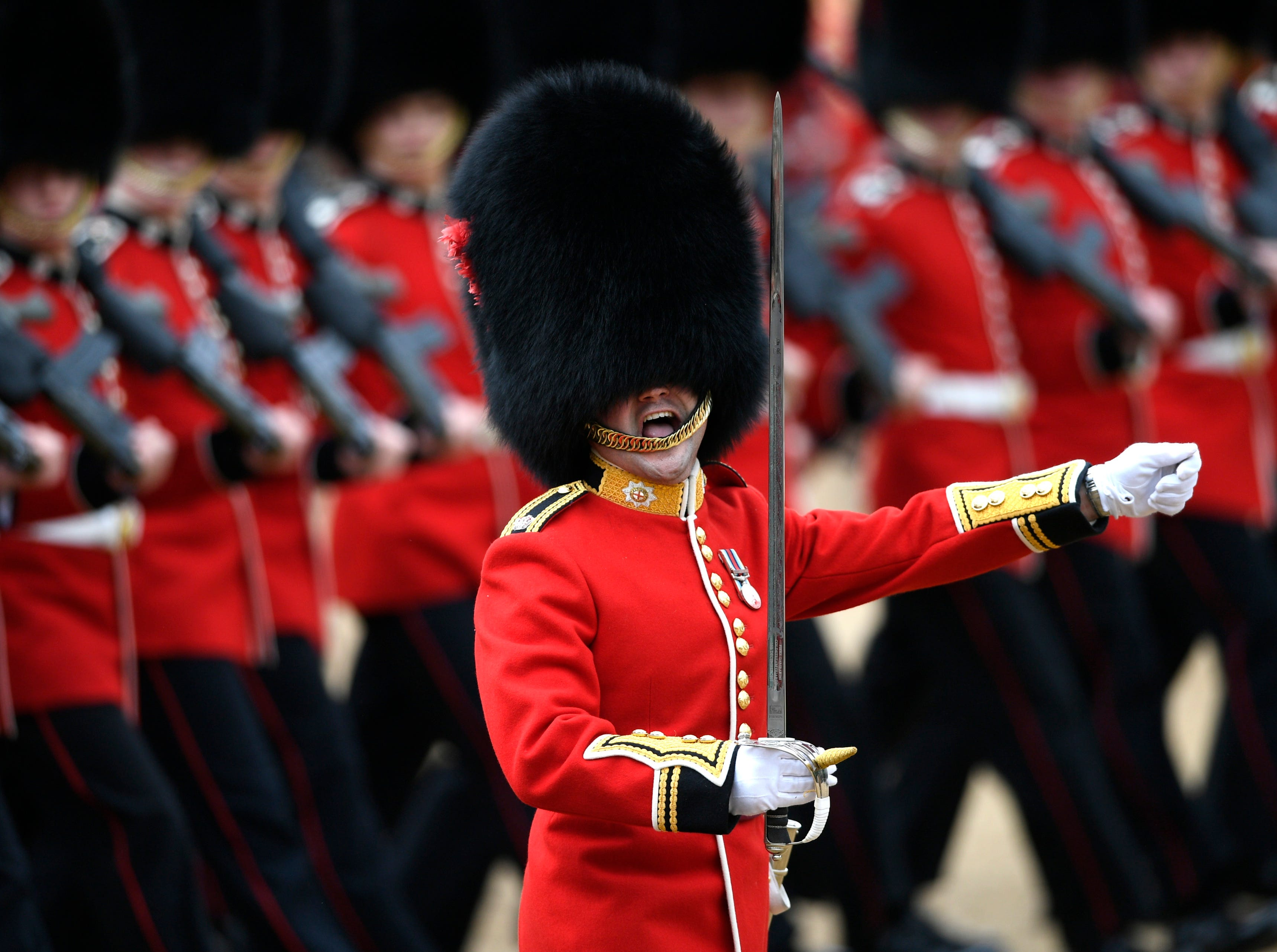 June 2, 2018: The Household Division led by the Coldsteam Guards take part in the Colonel's Review at Horseguards Parade in London. The Colonel's Review is the final public rehearsal of Britain's Queen Elizabeth's Birthday Parade, known as Trooping the Colour.