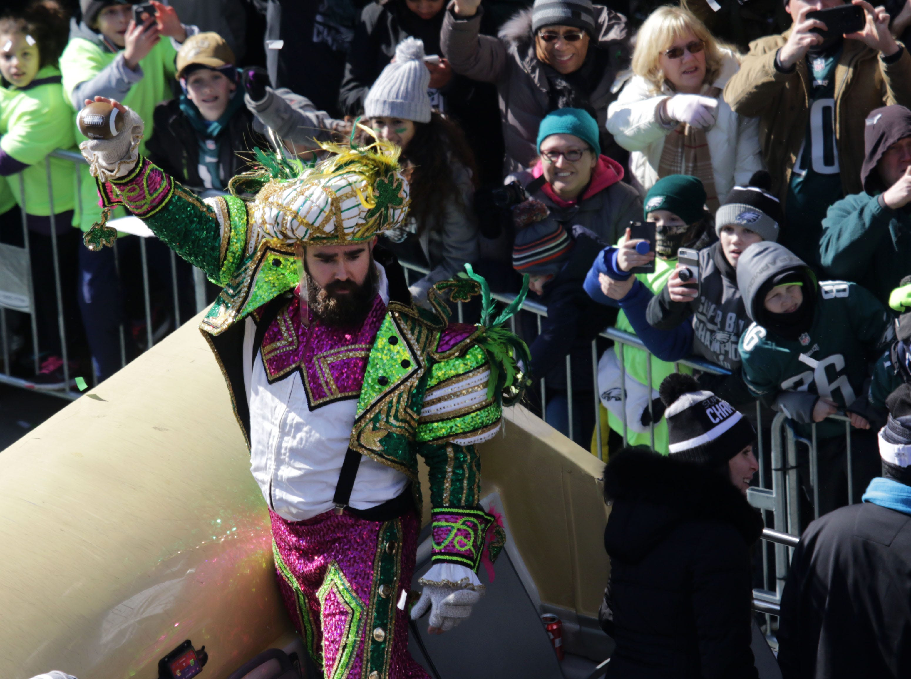 Feb. 8, 2018: Philadelphia Eagles center Jason Kelce waves to the crowd  during a parade celebrating their Super Bowl LII victory in Philadelphia.
