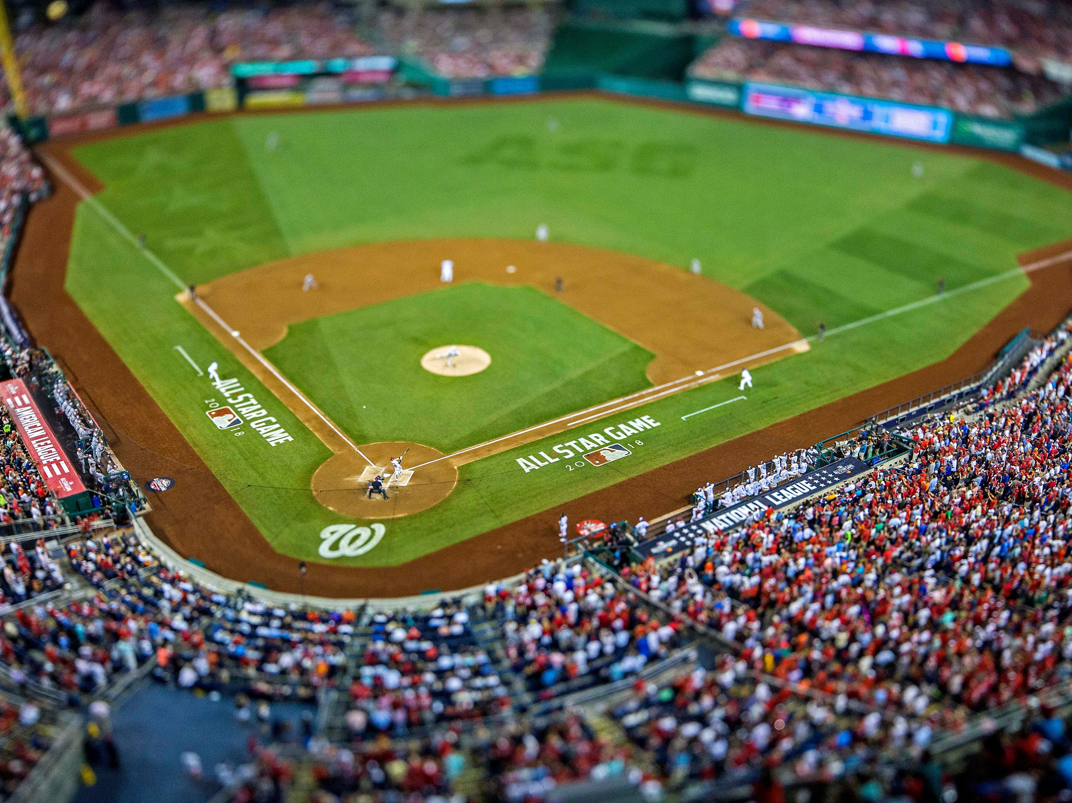 July 17, 2018: An overall view of the field during the second inning in the 2018 MLB All Star Game at Nationals Ballpark.